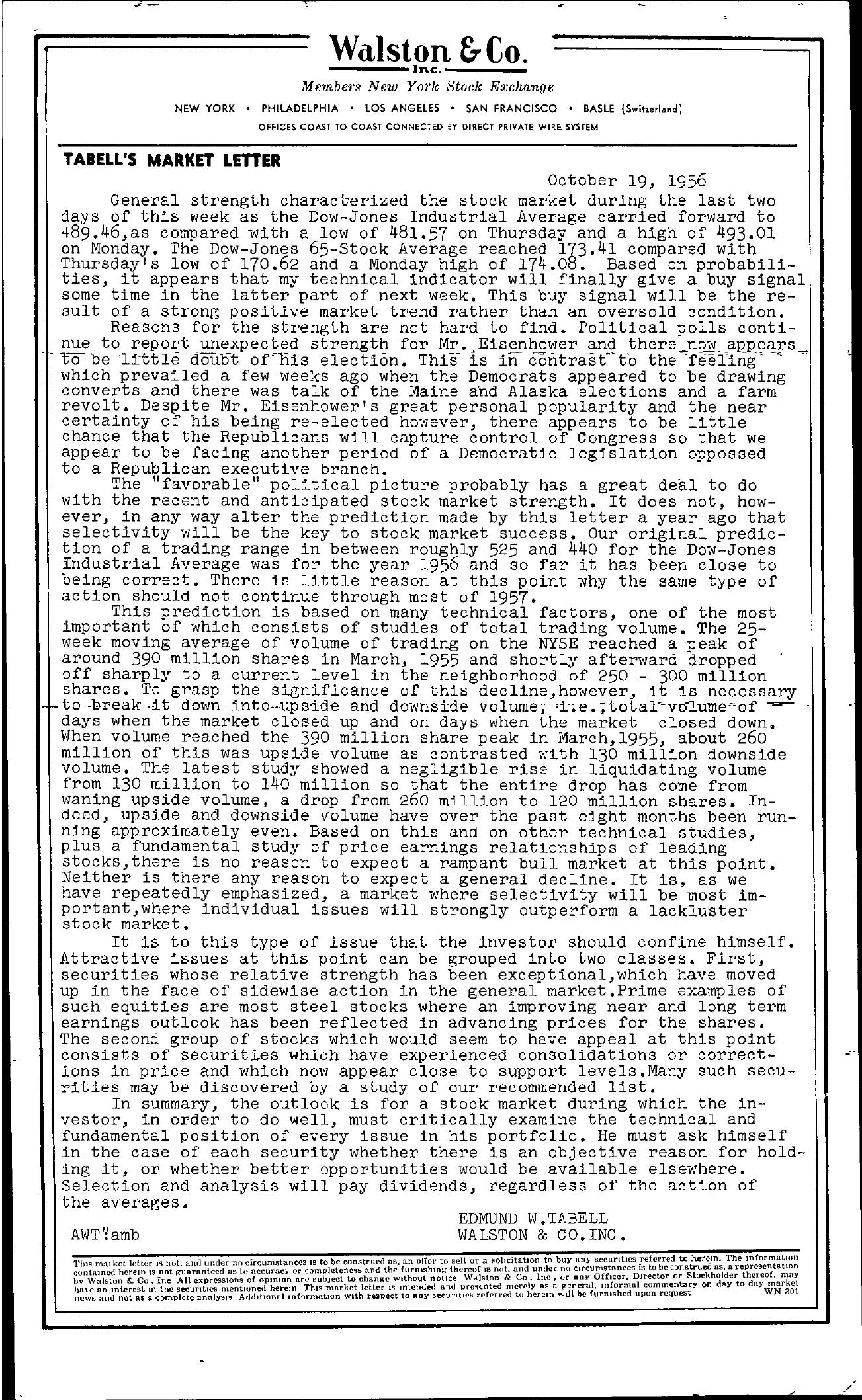 Tabell's Market Letter - October 19, 1956