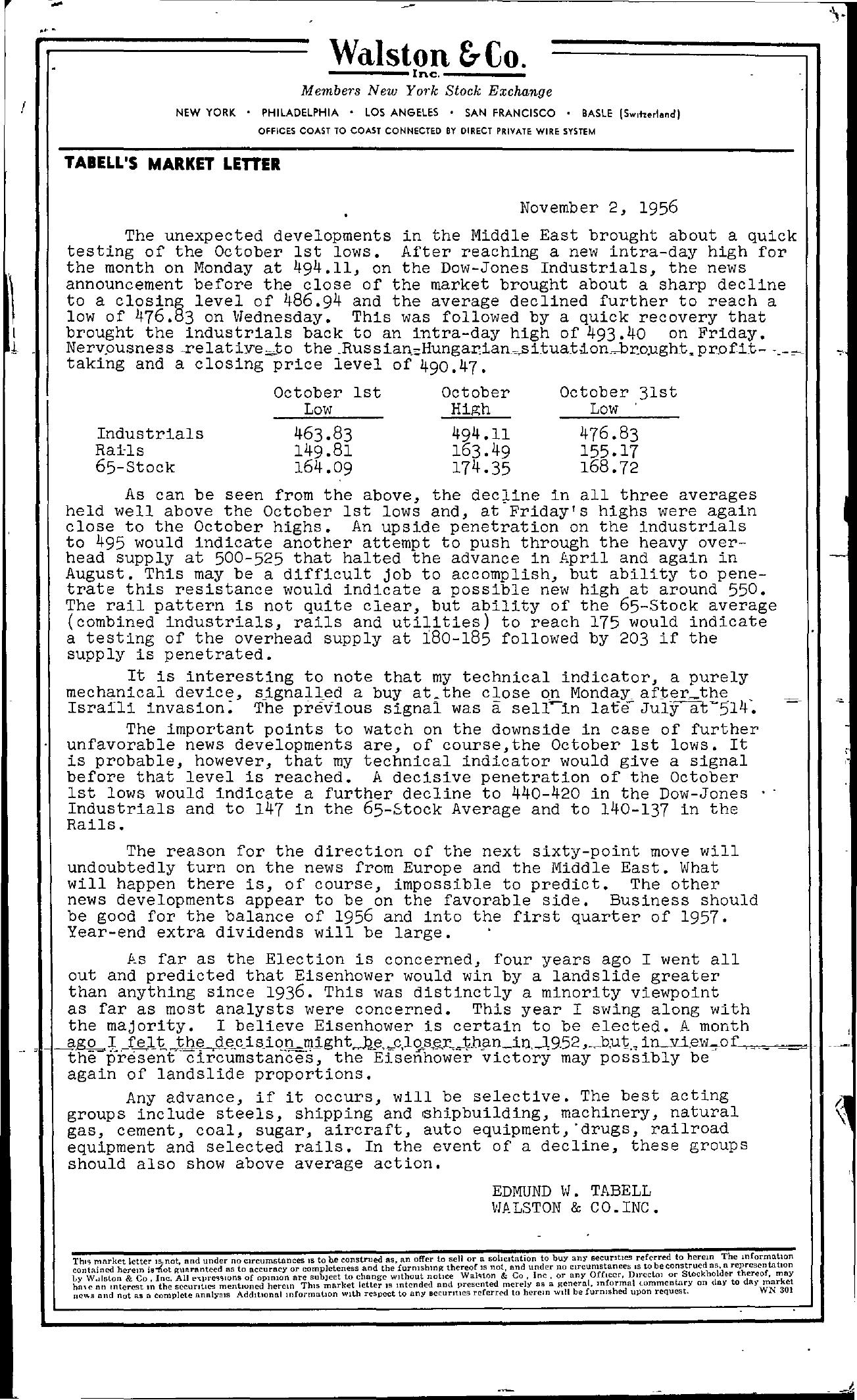 Tabell's Market Letter - November 02, 1956