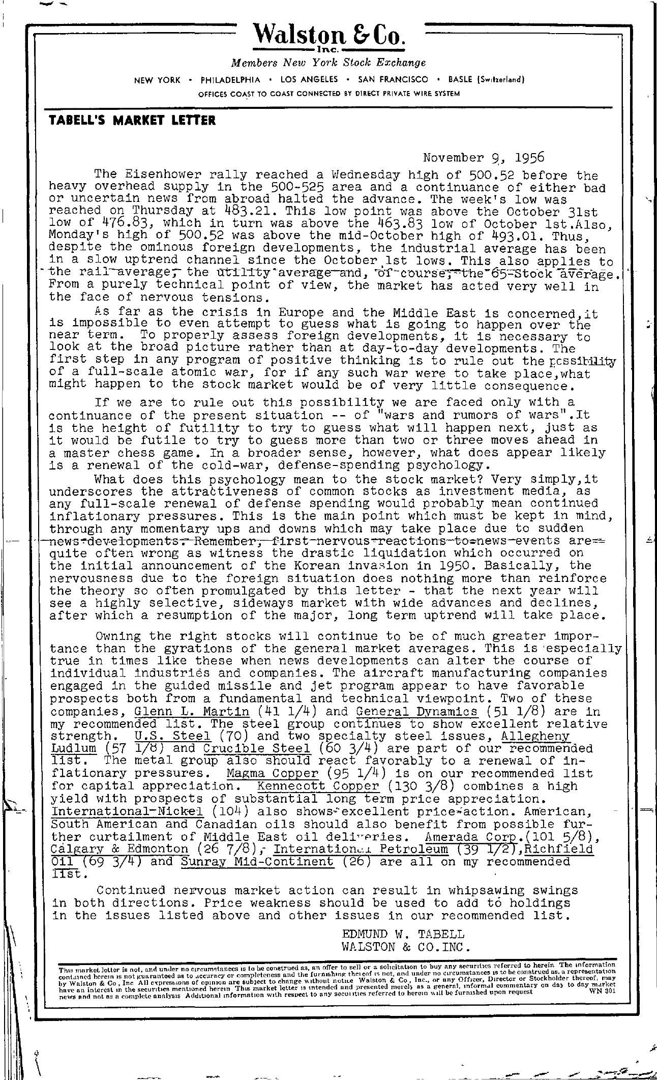 Tabell's Market Letter - November 09, 1956