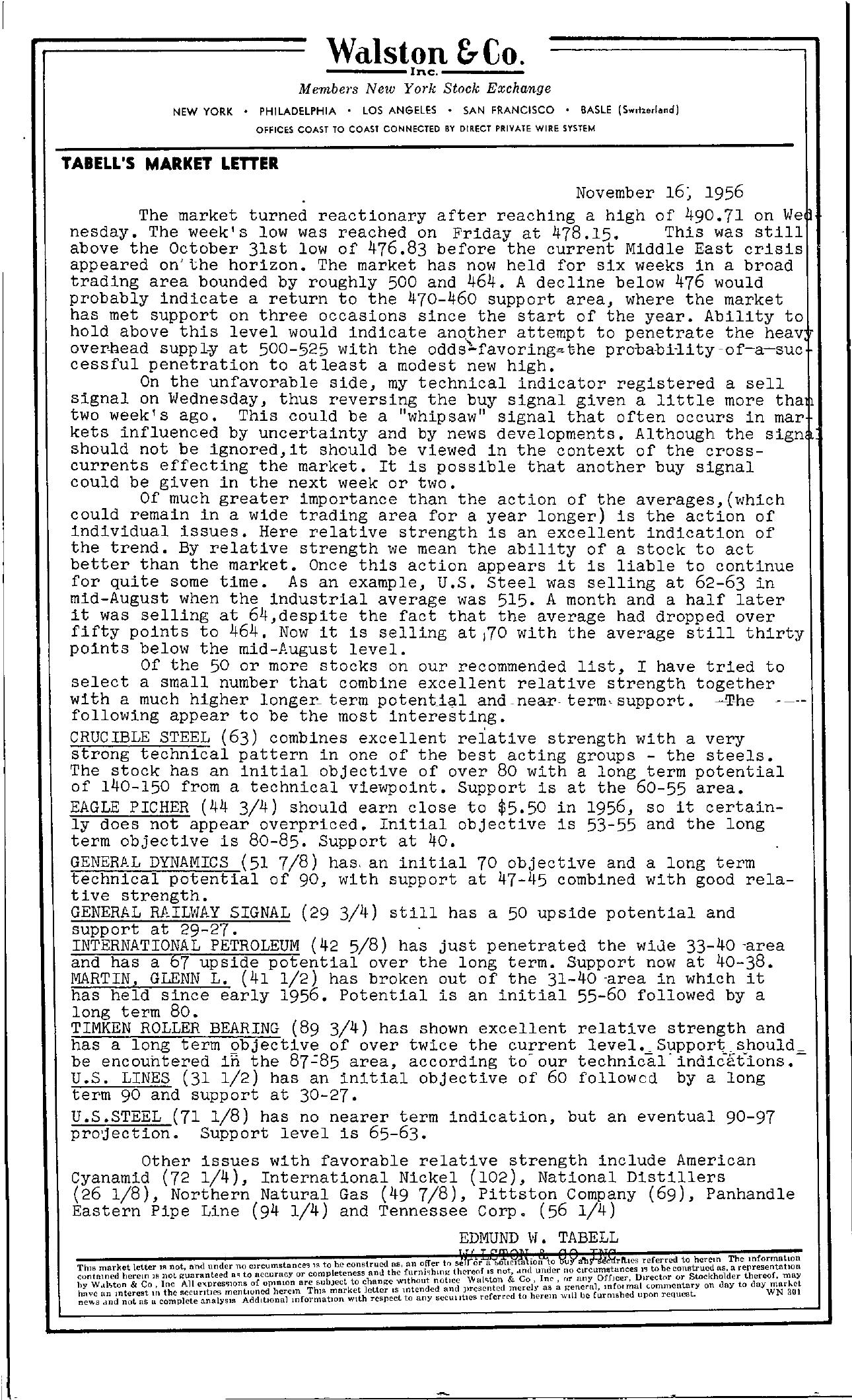 Tabell's Market Letter - November 16, 1956