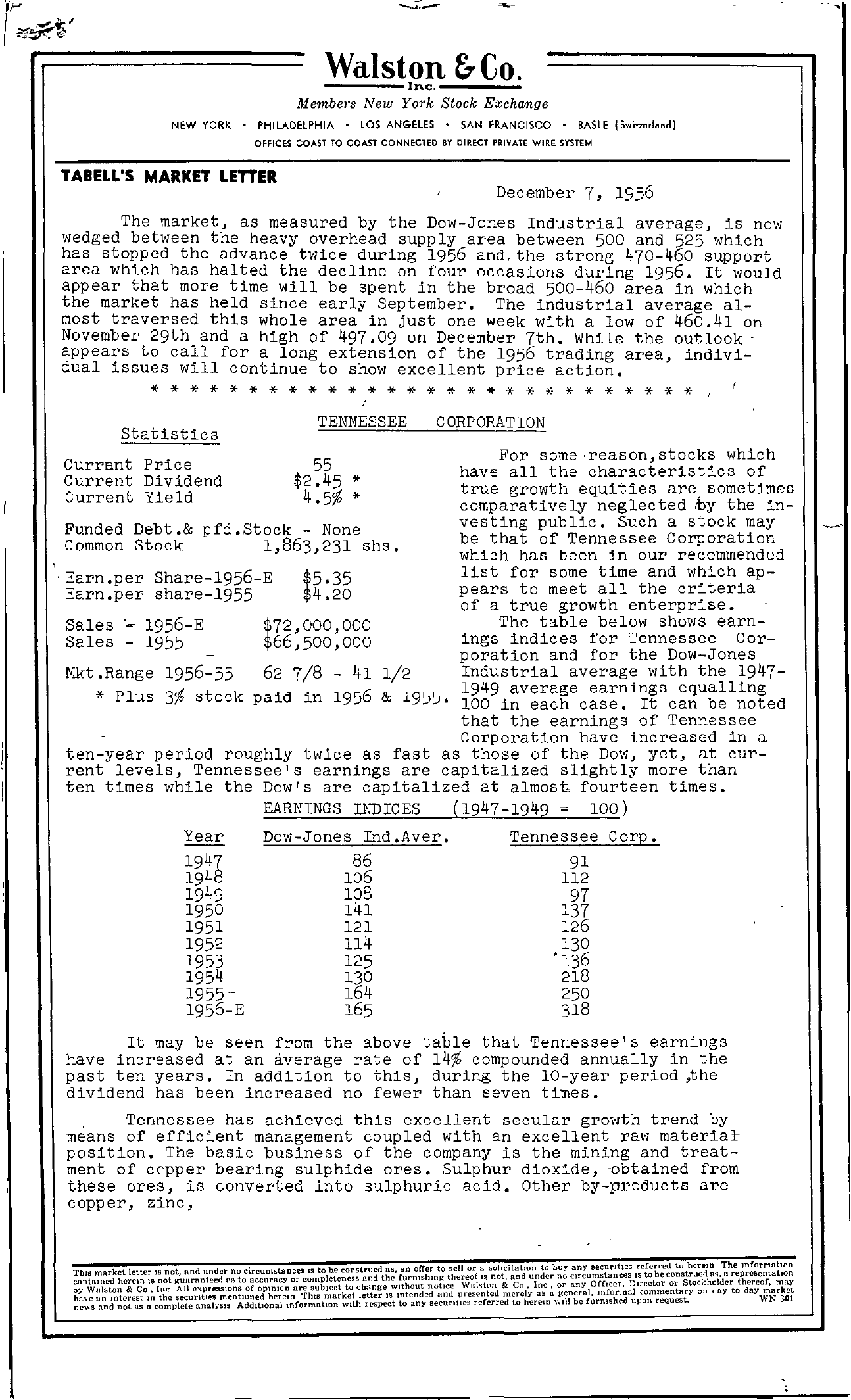 Tabell's Market Letter - December 07, 1956 page 1