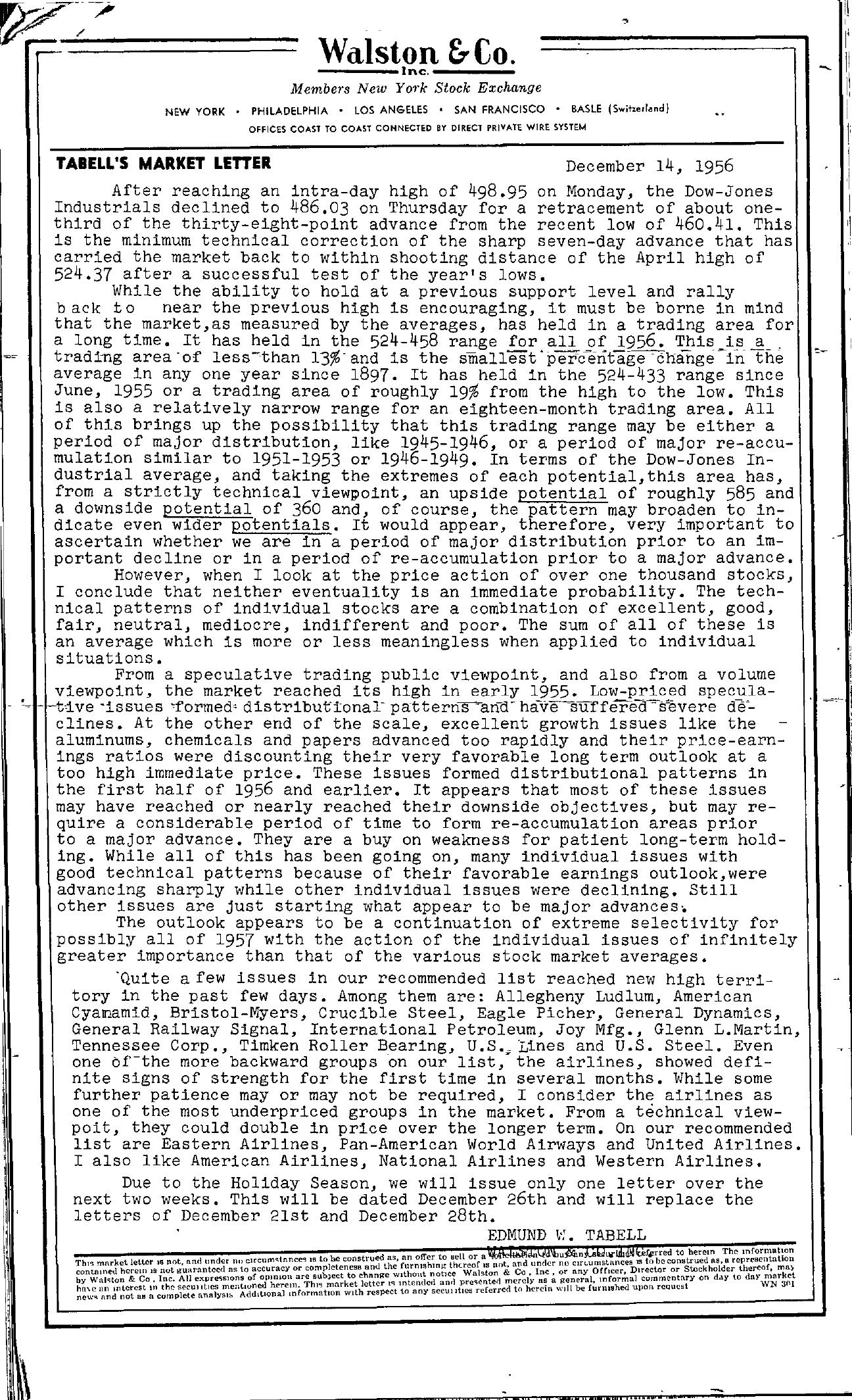 Tabell's Market Letter - December 14, 1956