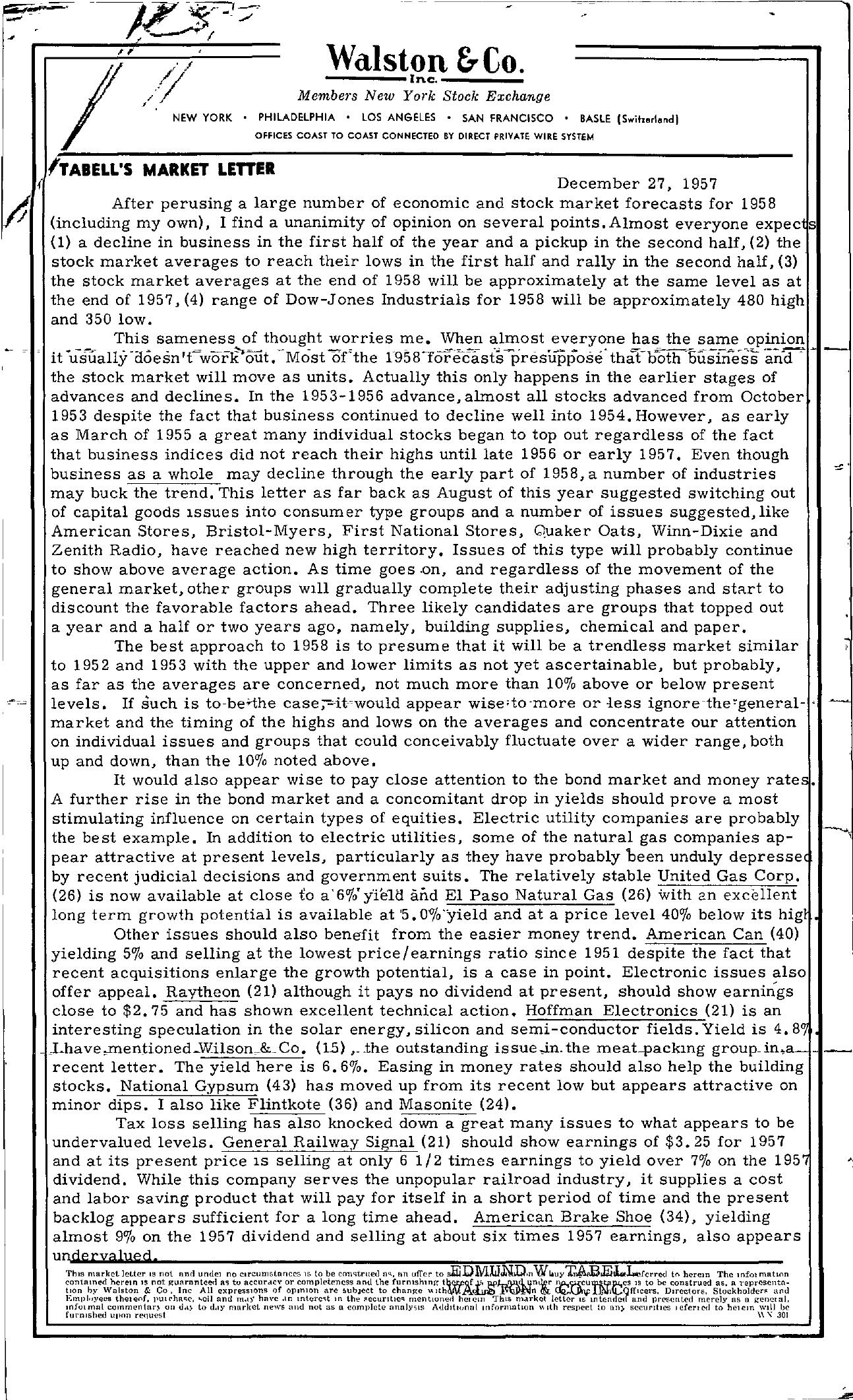 Tabell's Market Letter - December 27, 1957