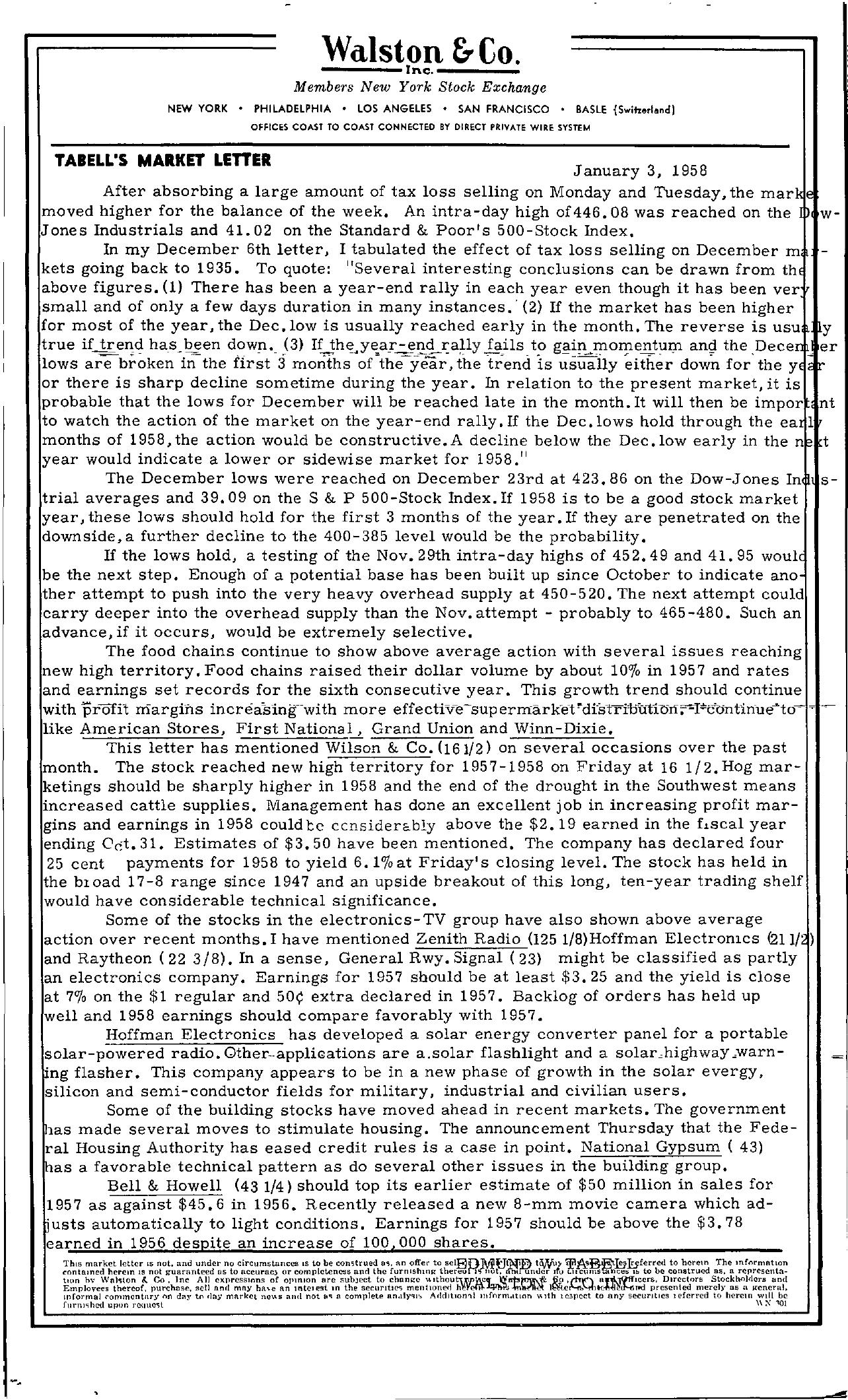 Tabell's Market Letter - January 03, 1958