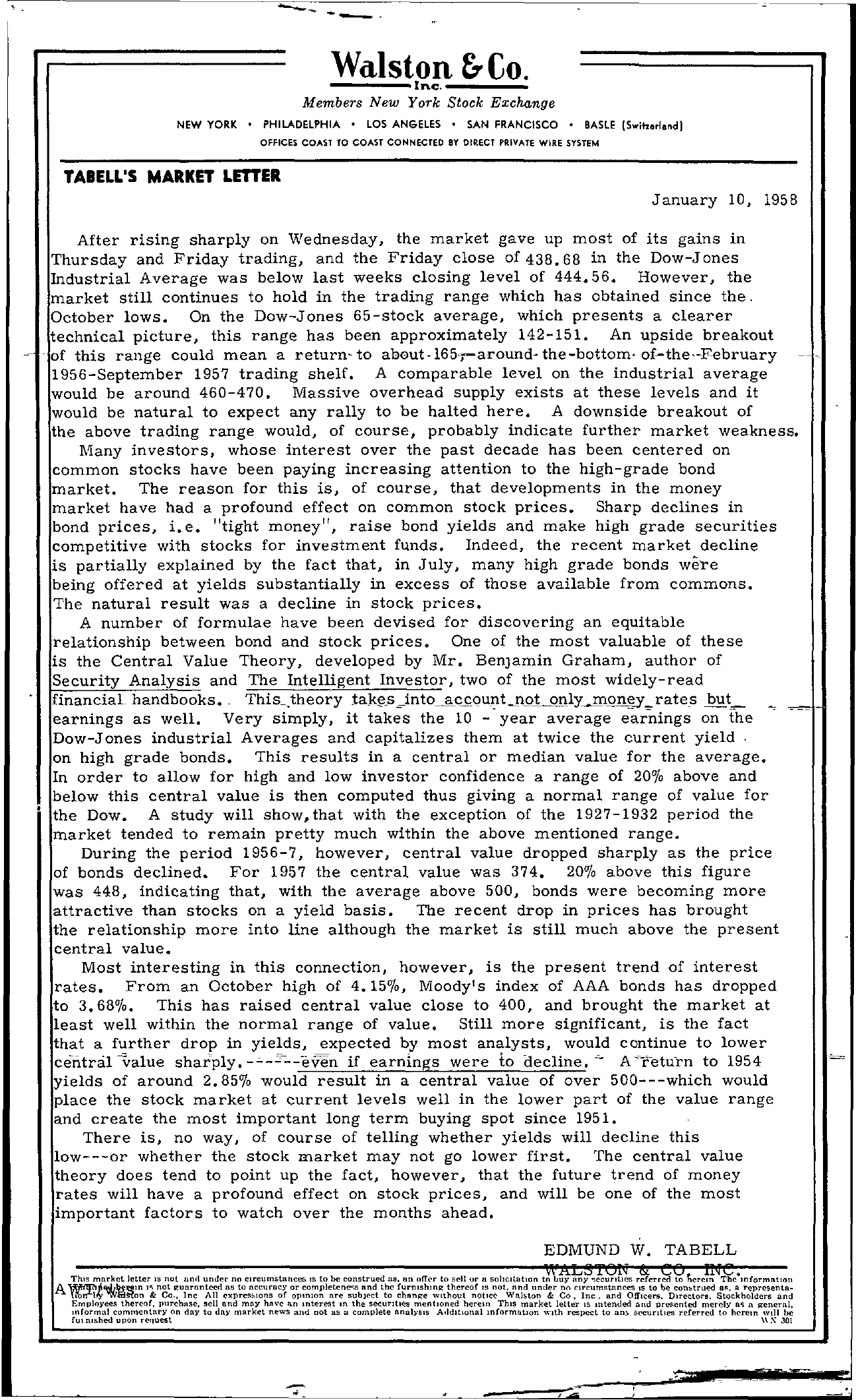 Tabell's Market Letter - January 10, 1958