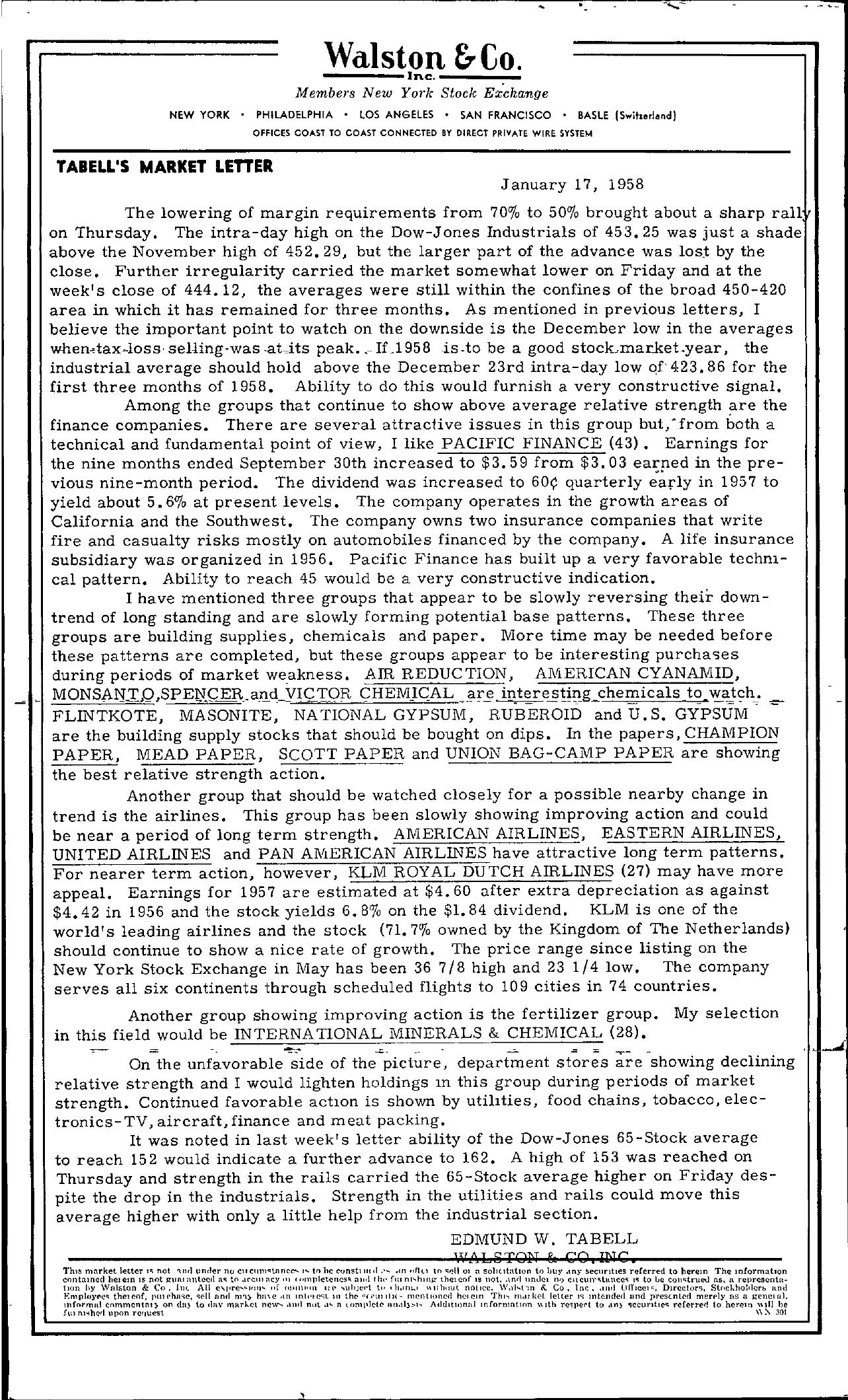 Tabell's Market Letter - January 17, 1958