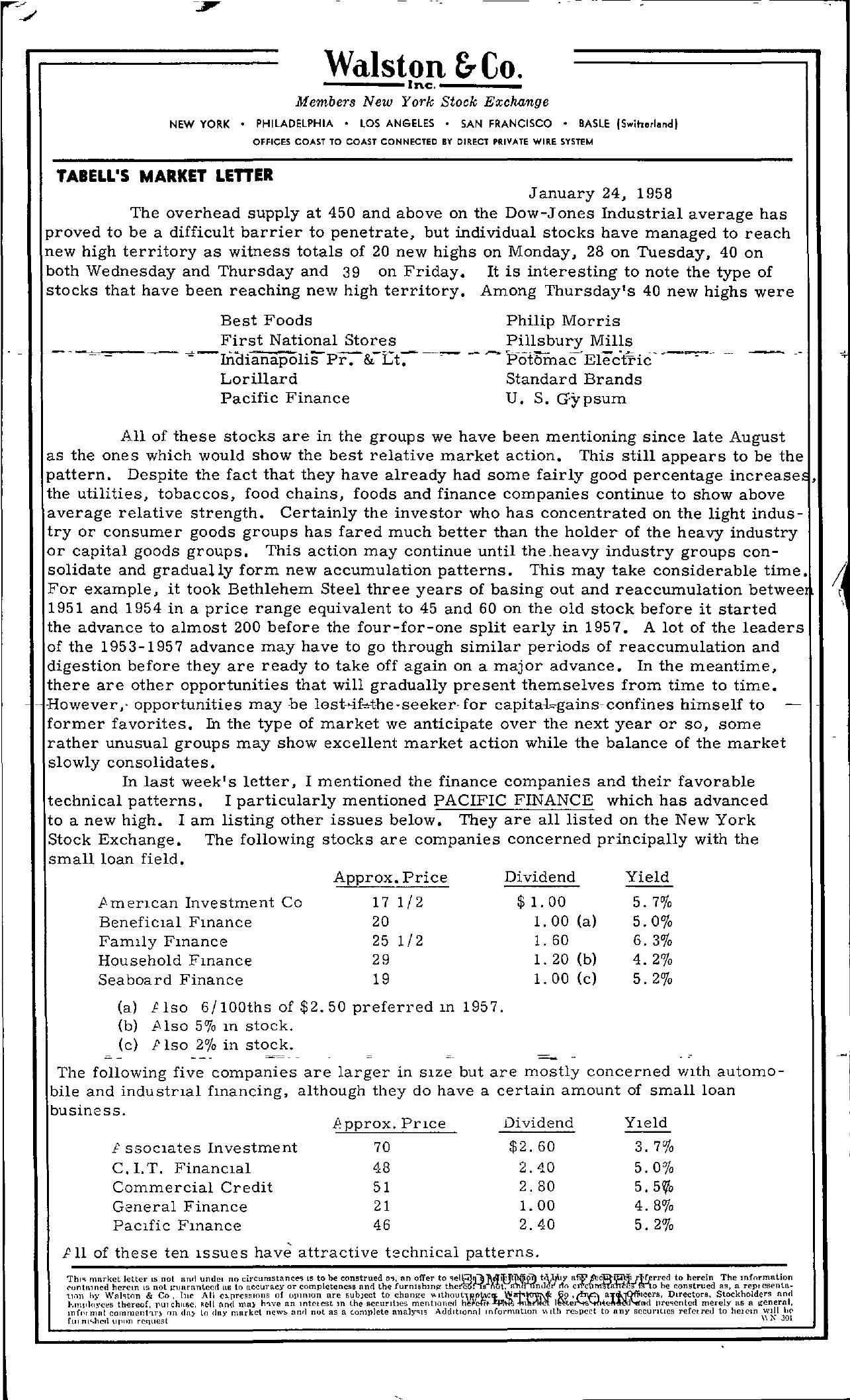 Tabell's Market Letter - January 24, 1958