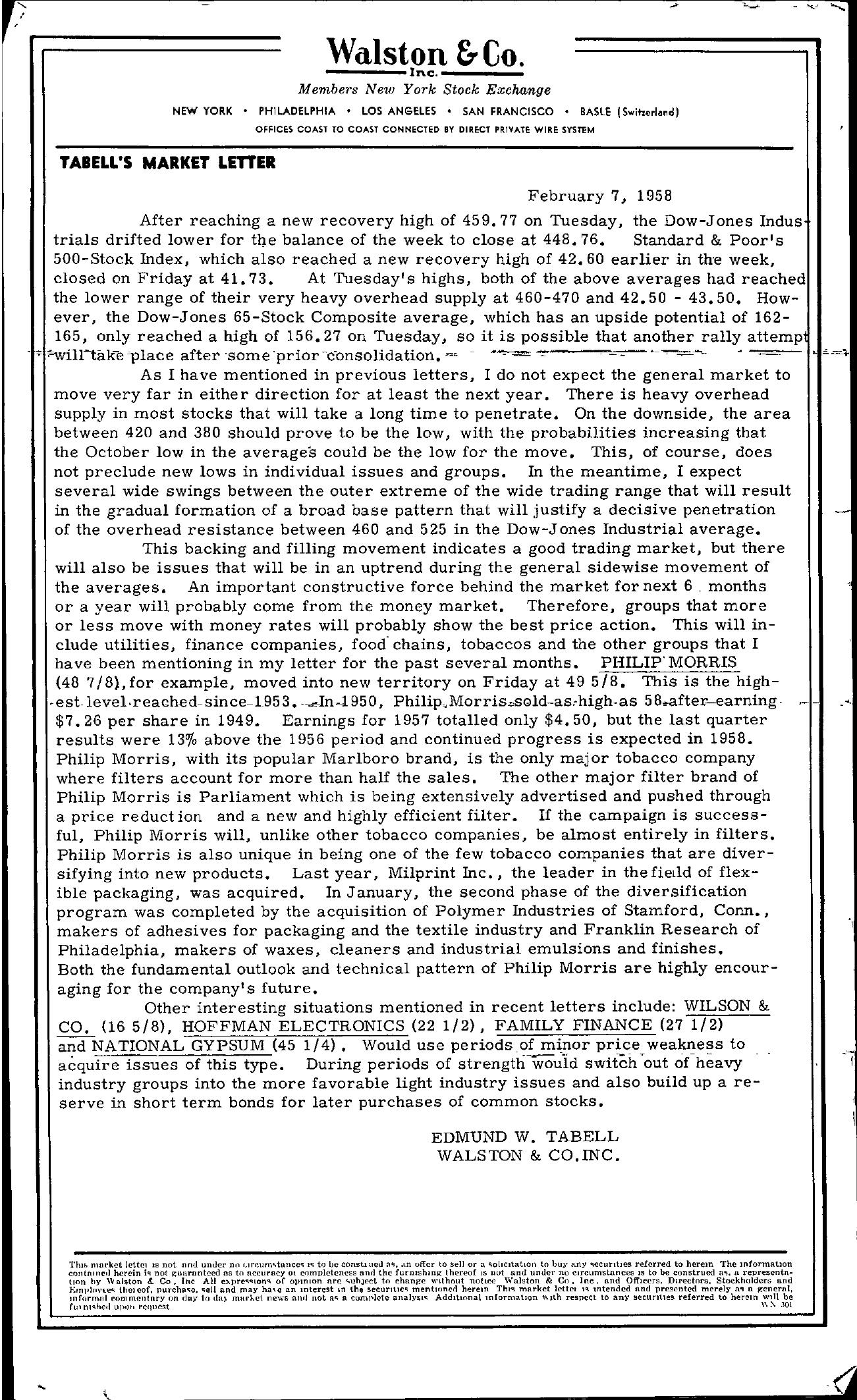 Tabell's Market Letter - February 07, 1958