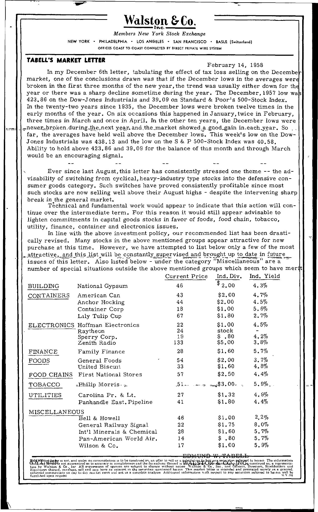 Tabell's Market Letter - February 14, 1958