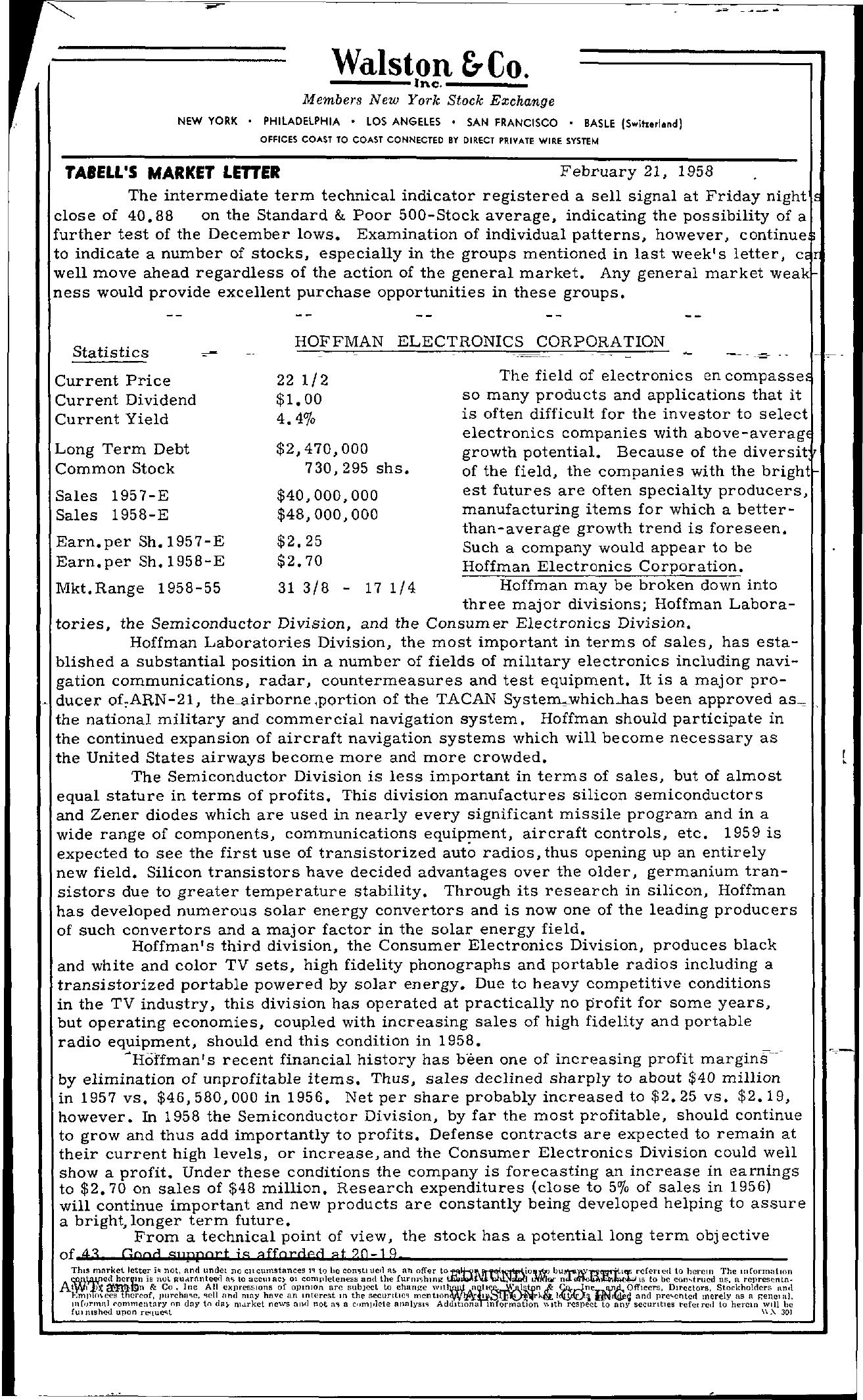 Tabell's Market Letter - February 21, 1958