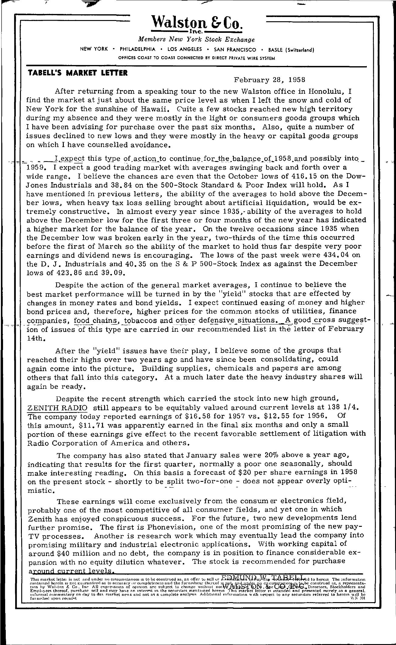 Tabell's Market Letter - February 28, 1958