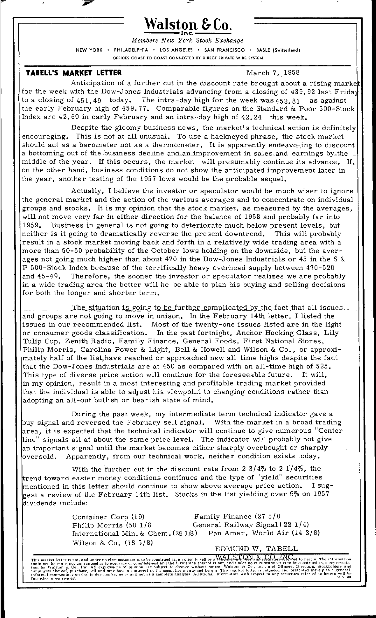 Tabell's Market Letter - March 07, 1958