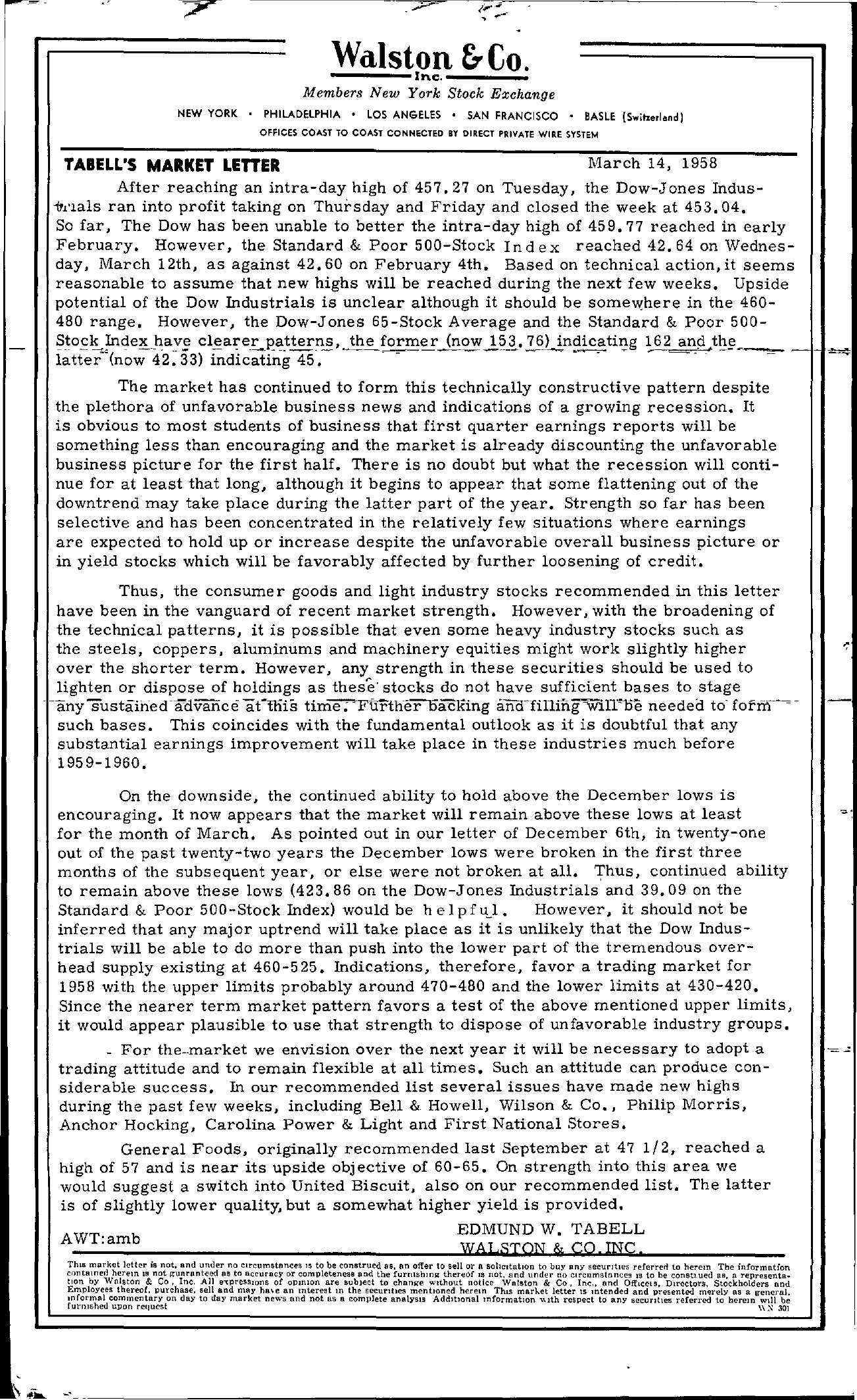 Tabell's Market Letter - March 14, 1958