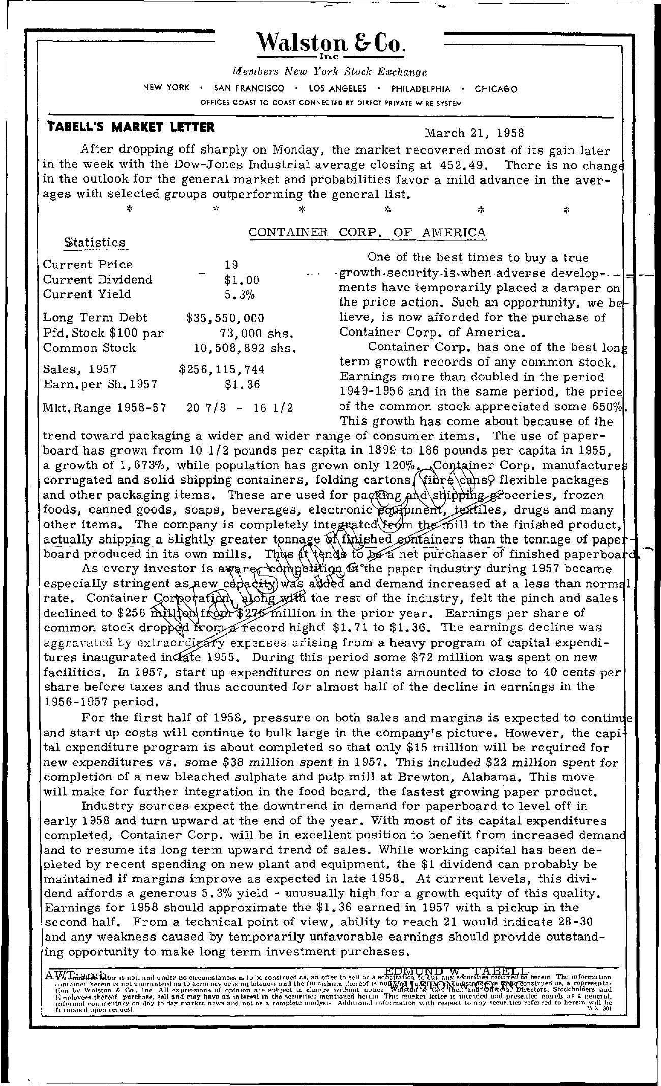 Tabell's Market Letter - March 21, 1958