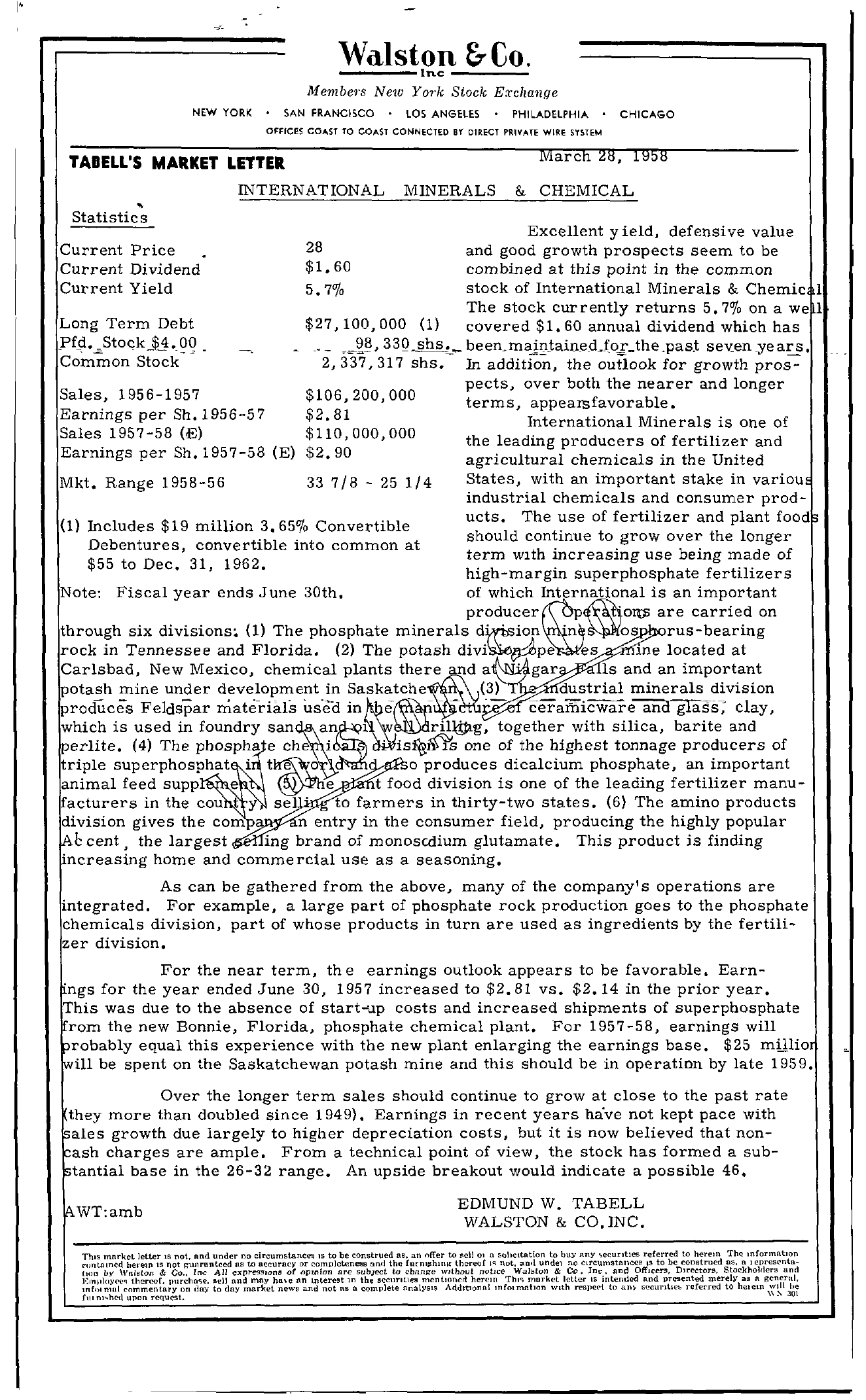 Tabell's Market Letter - March 28, 1958