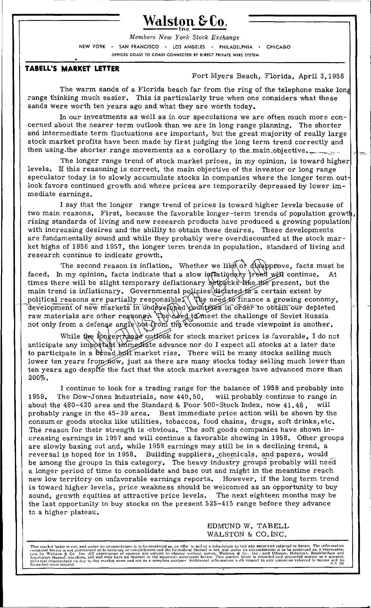 Tabell's Market Letter - April 03, 1958