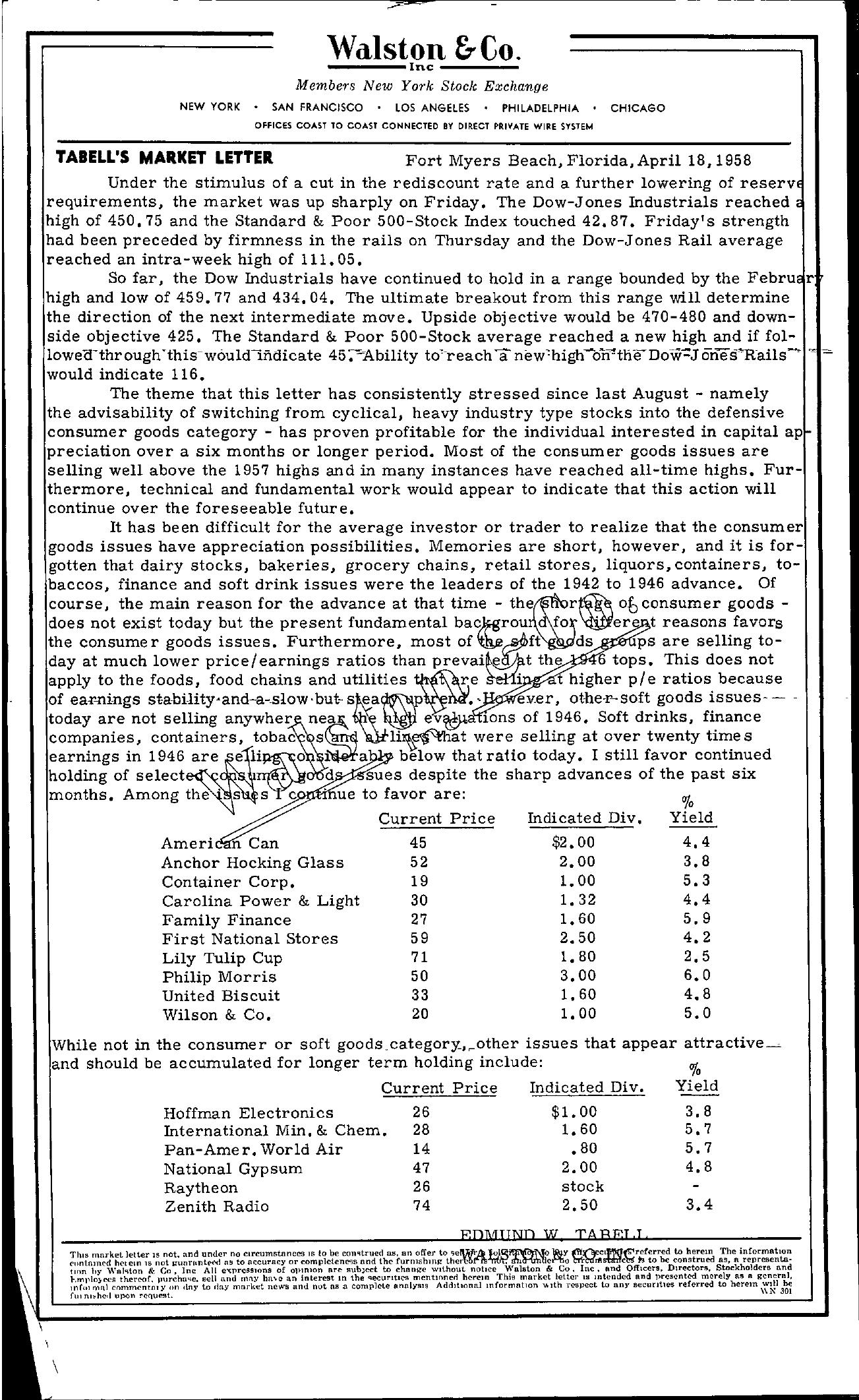 Tabell's Market Letter - April 18, 1958
