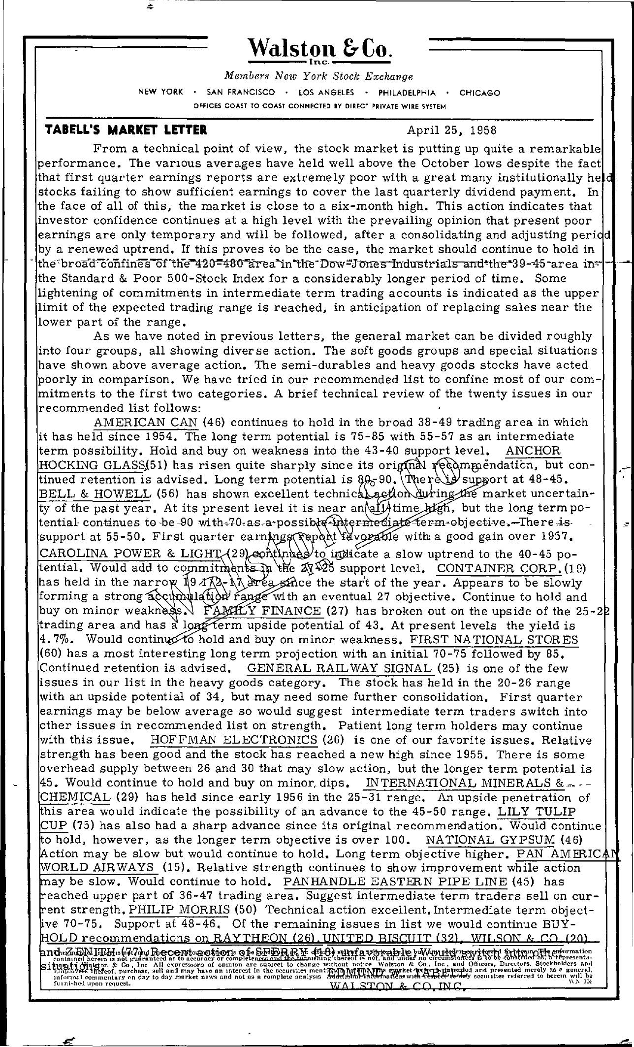 Tabell's Market Letter - April 25, 1958