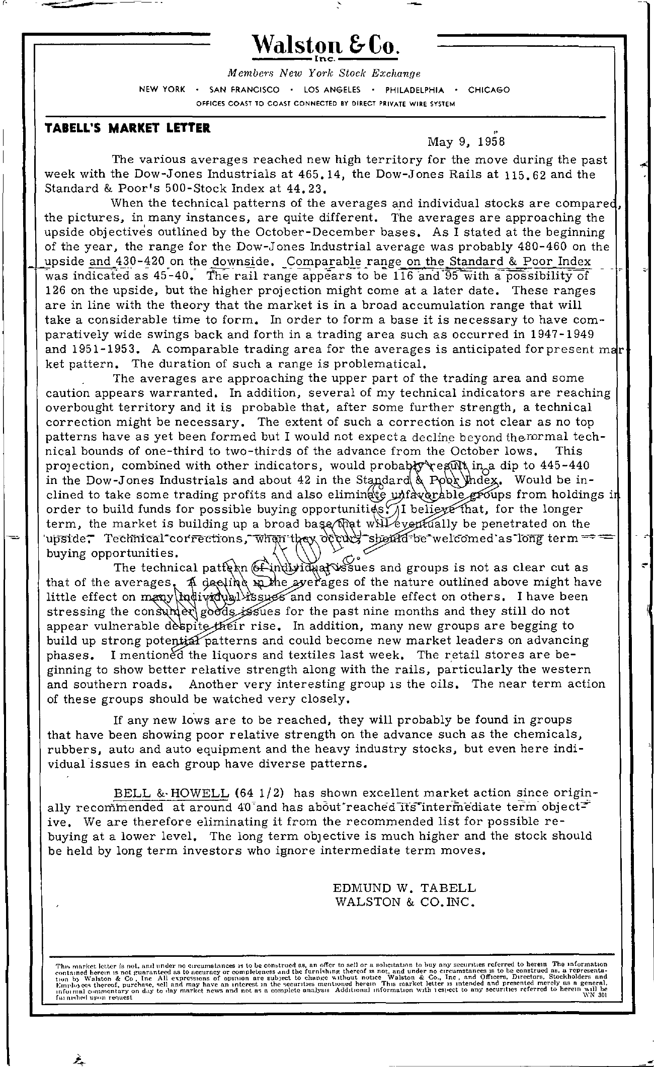 Tabell's Market Letter - May 09, 1958