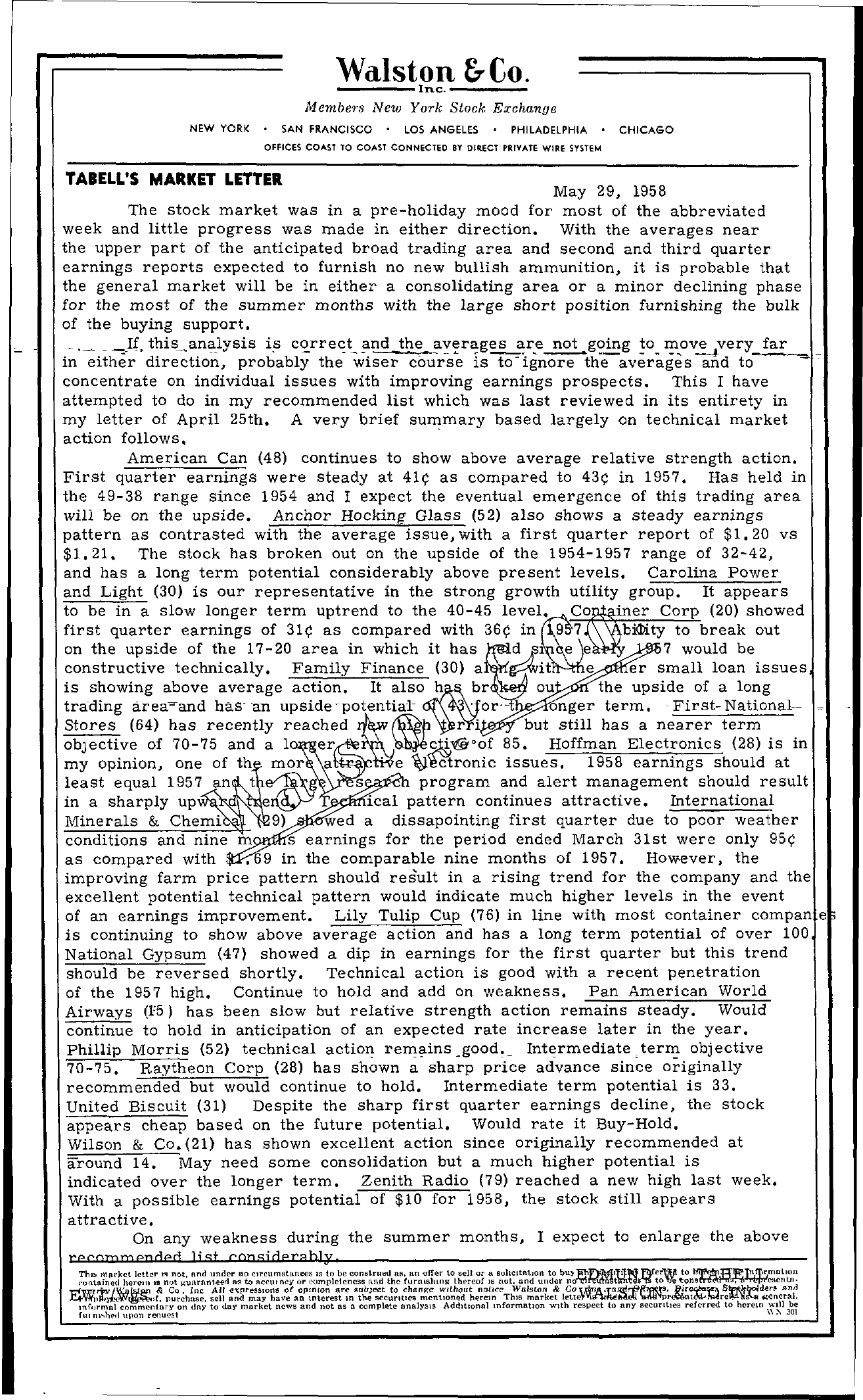 Tabell's Market Letter - May 29, 1958