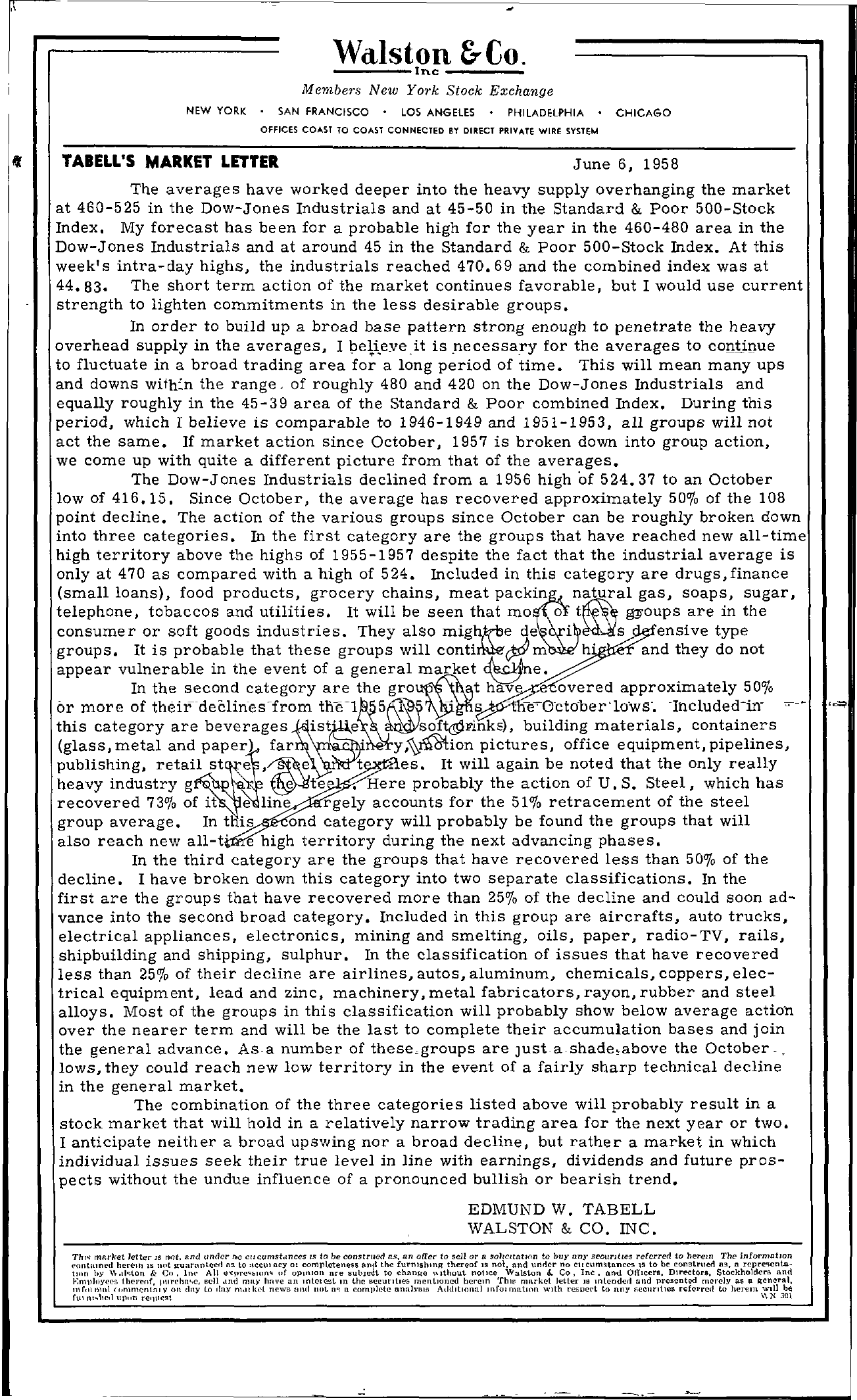 Tabell's Market Letter - June 06, 1958 page 1