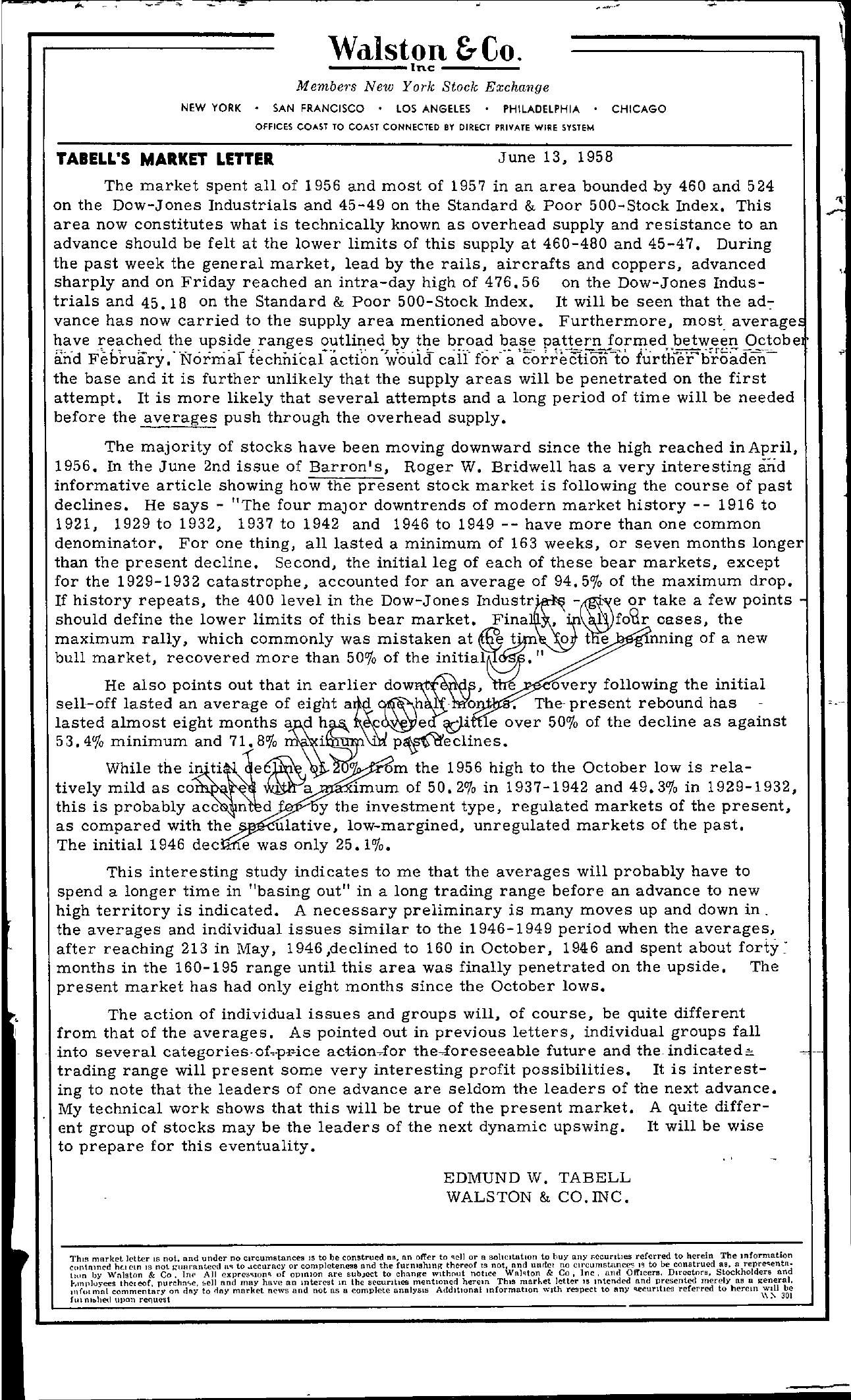 Tabell's Market Letter - June 13, 1958