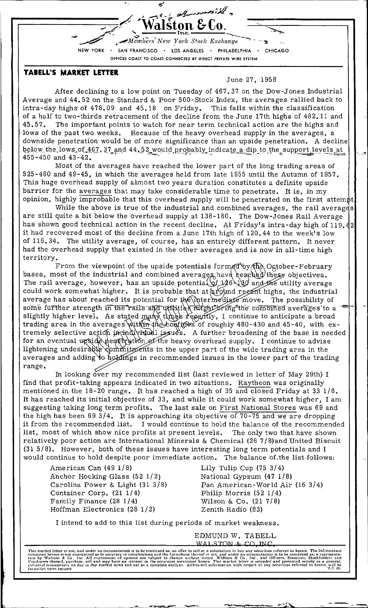 Tabell's Market Letter - June 27, 1958