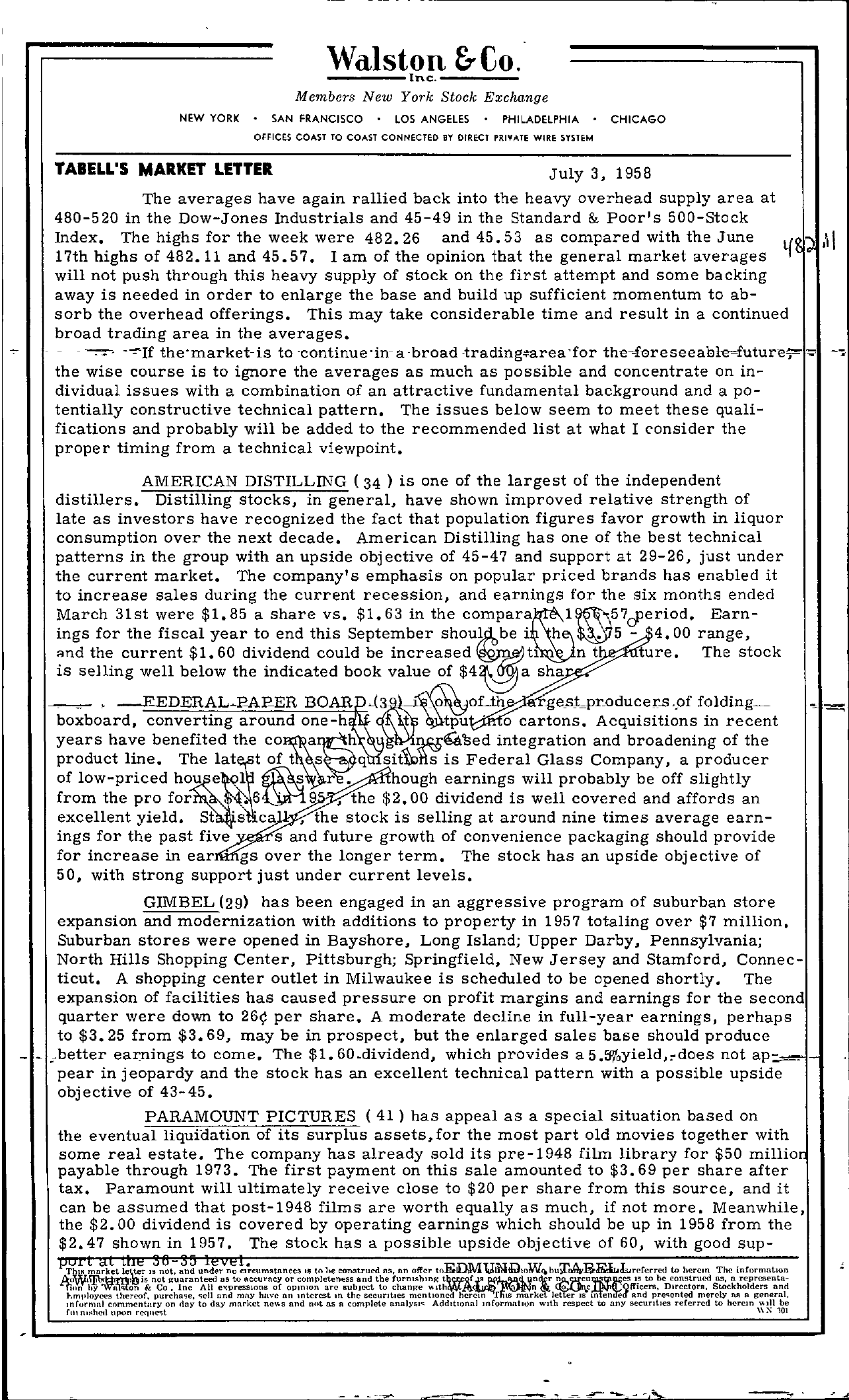 Tabell's Market Letter - July 03, 1958