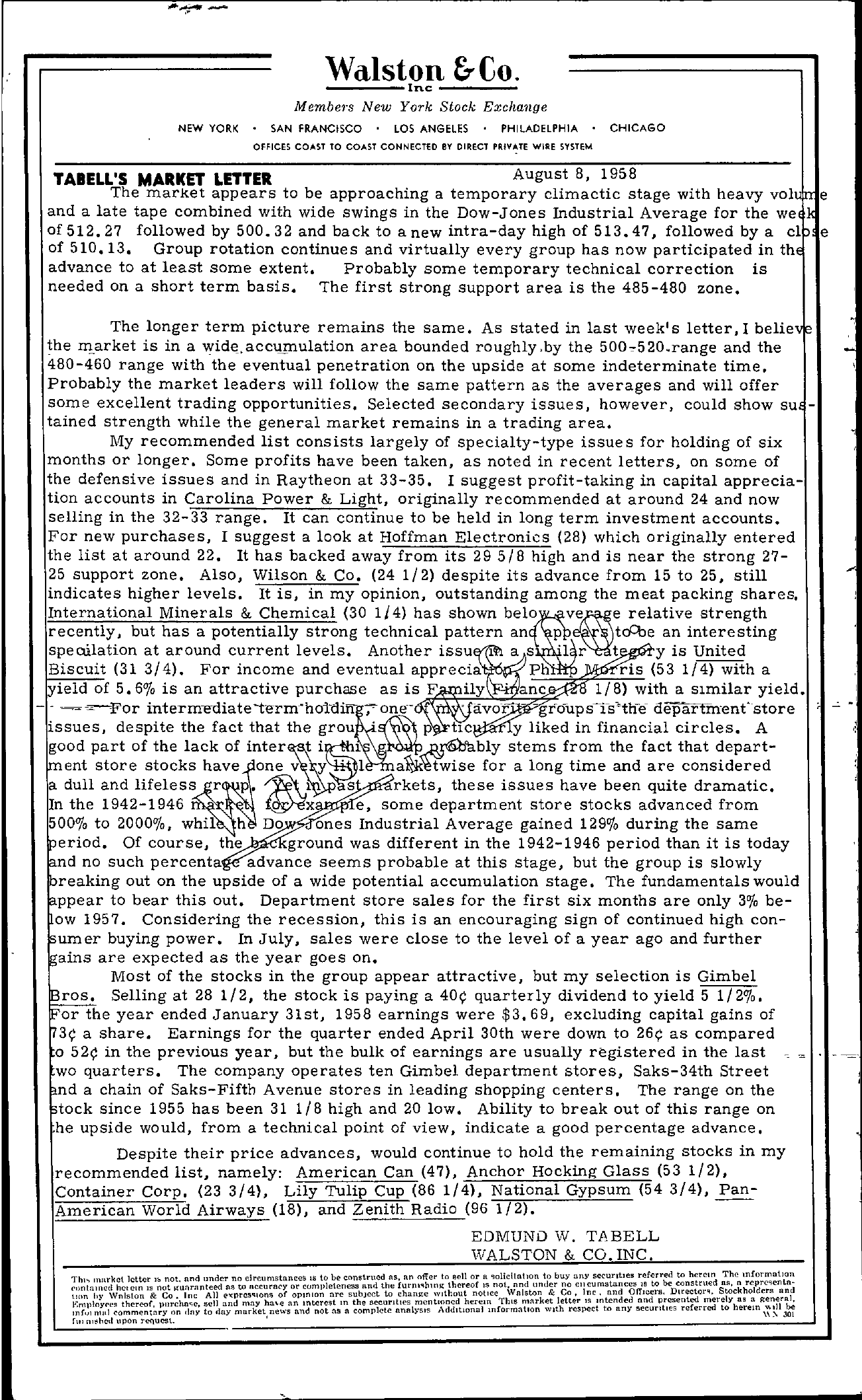 Tabell's Market Letter - August 08, 1958