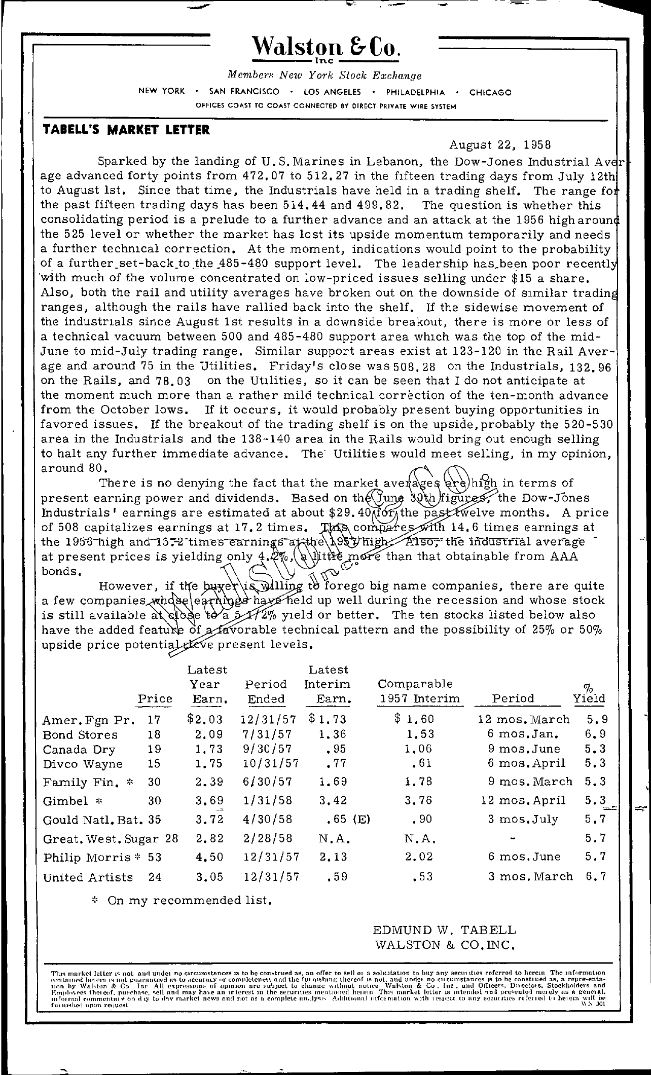Tabell's Market Letter - August 22, 1958