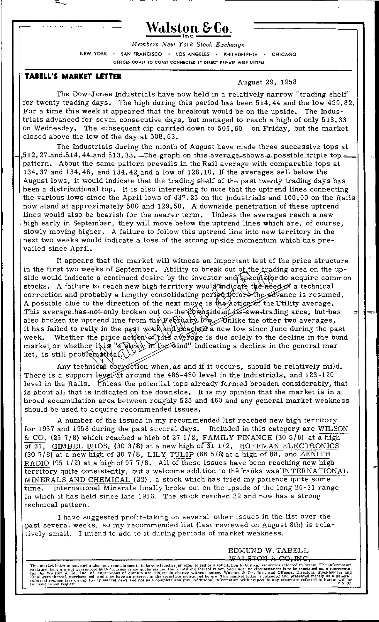 Tabell's Market Letter - August 29, 1958