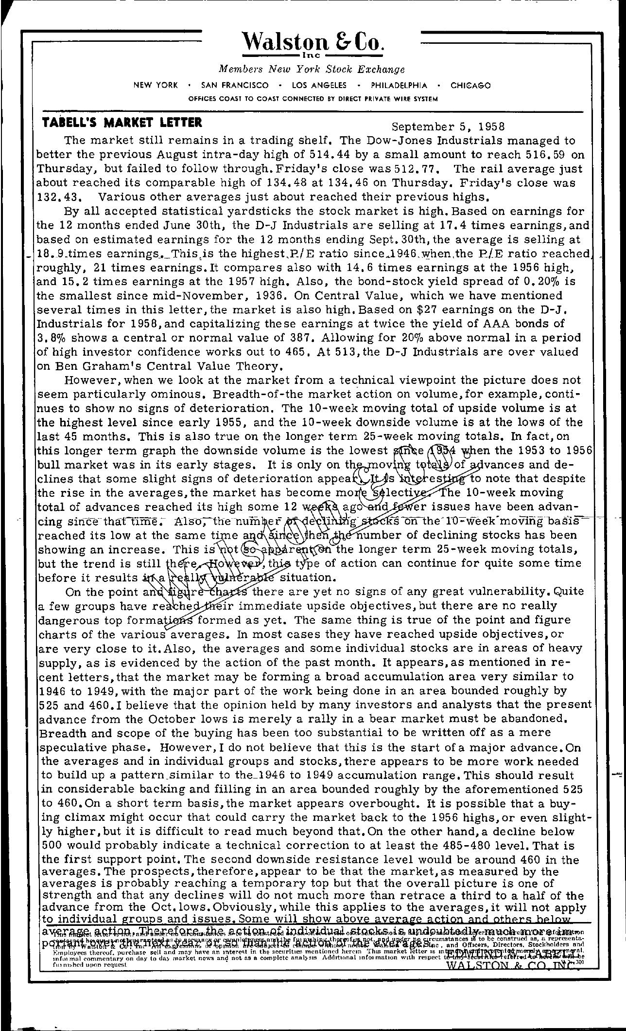 Tabell's Market Letter - September 05, 1958
