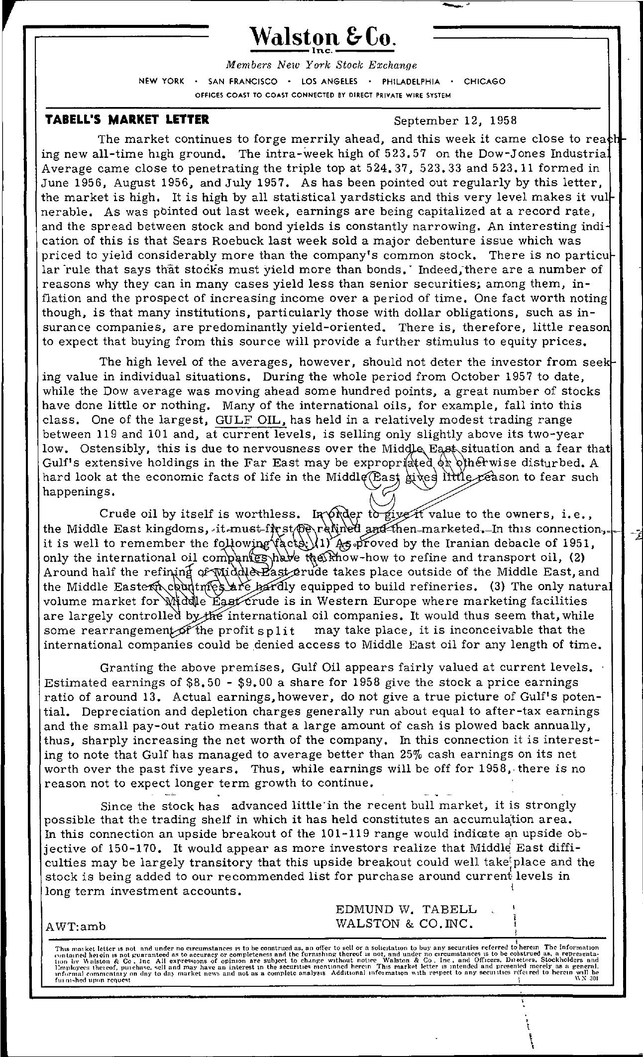 Tabell's Market Letter - September 12, 1958