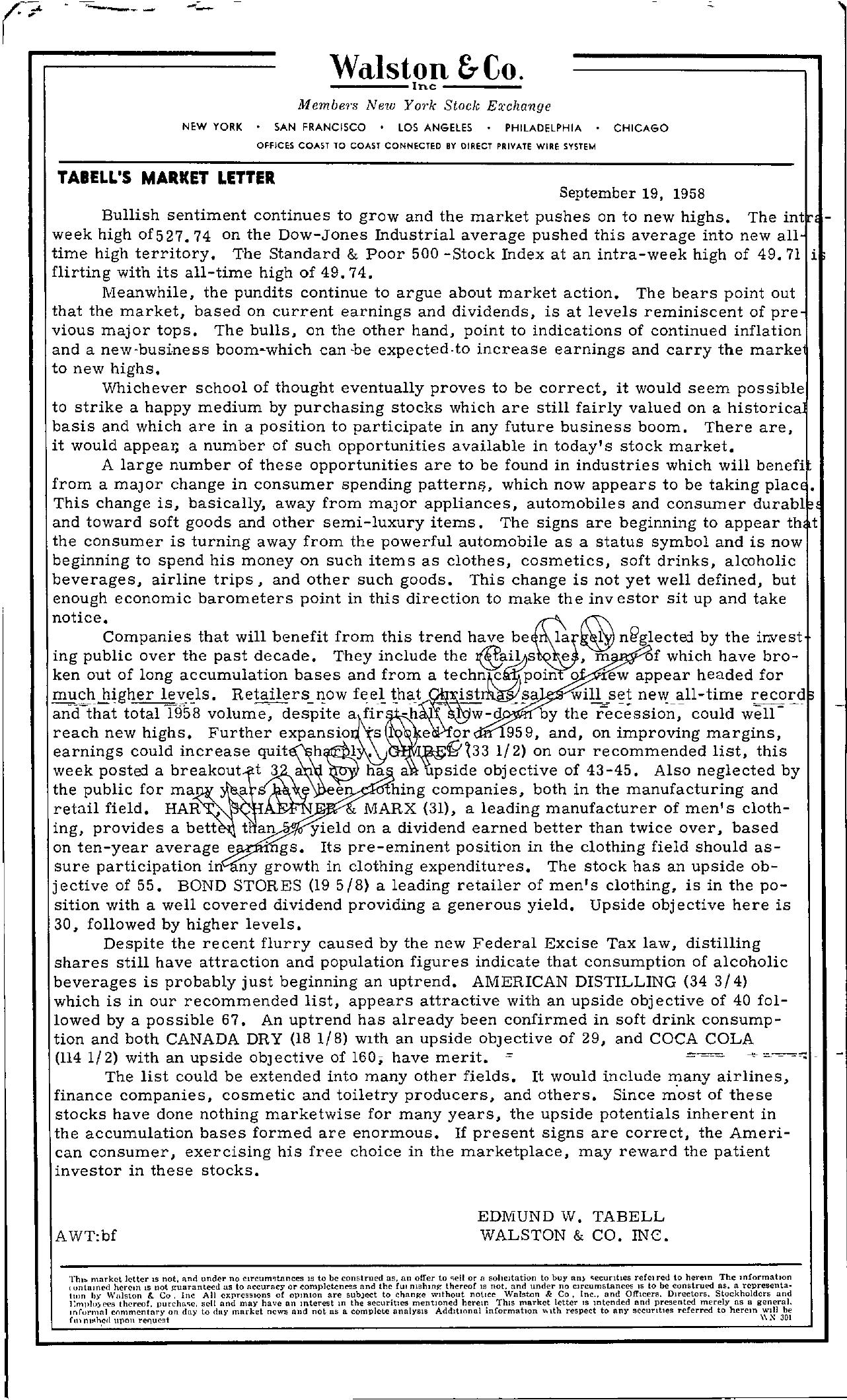 Tabell's Market Letter - September 19, 1958