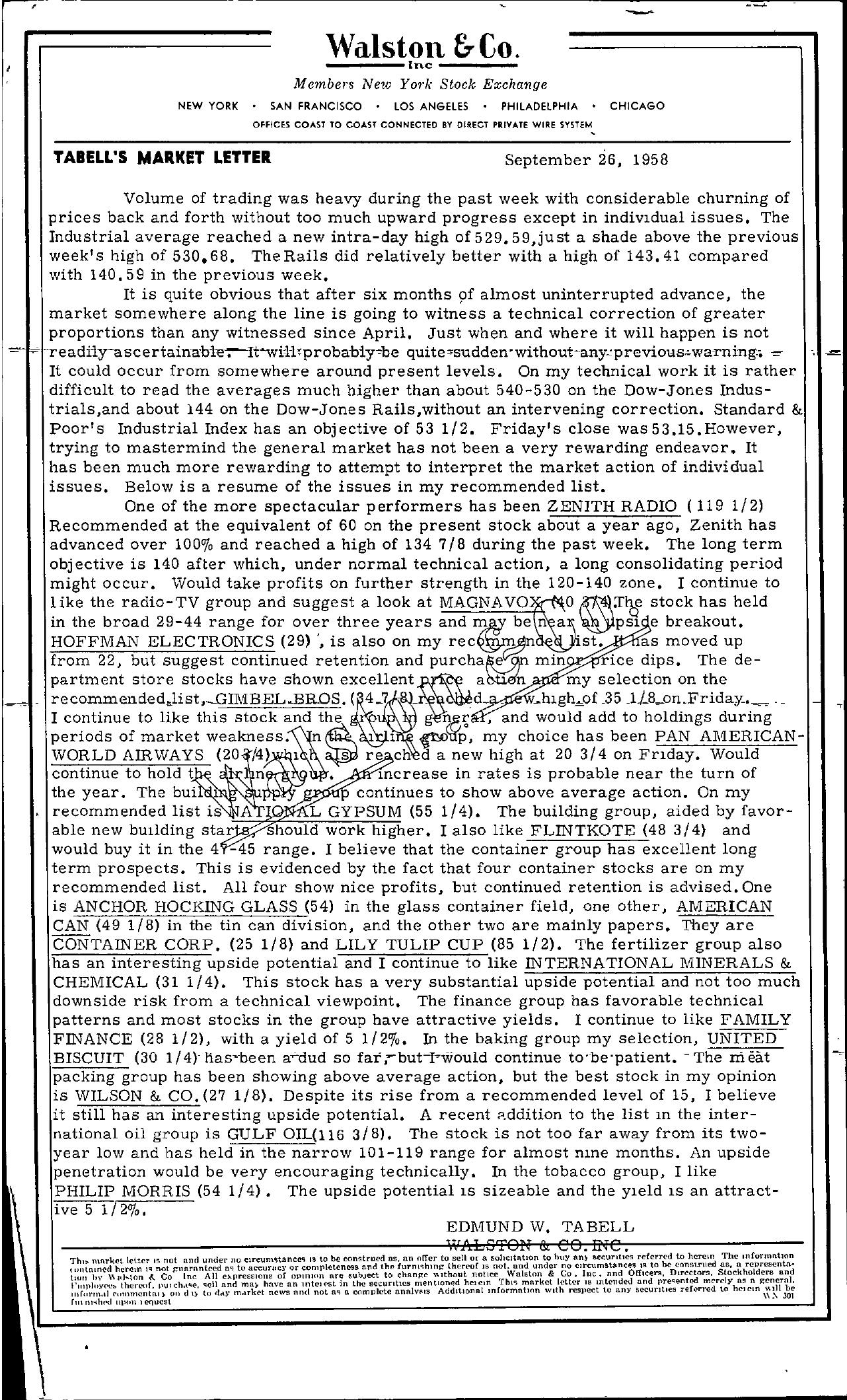 Tabell's Market Letter - September 26, 1958