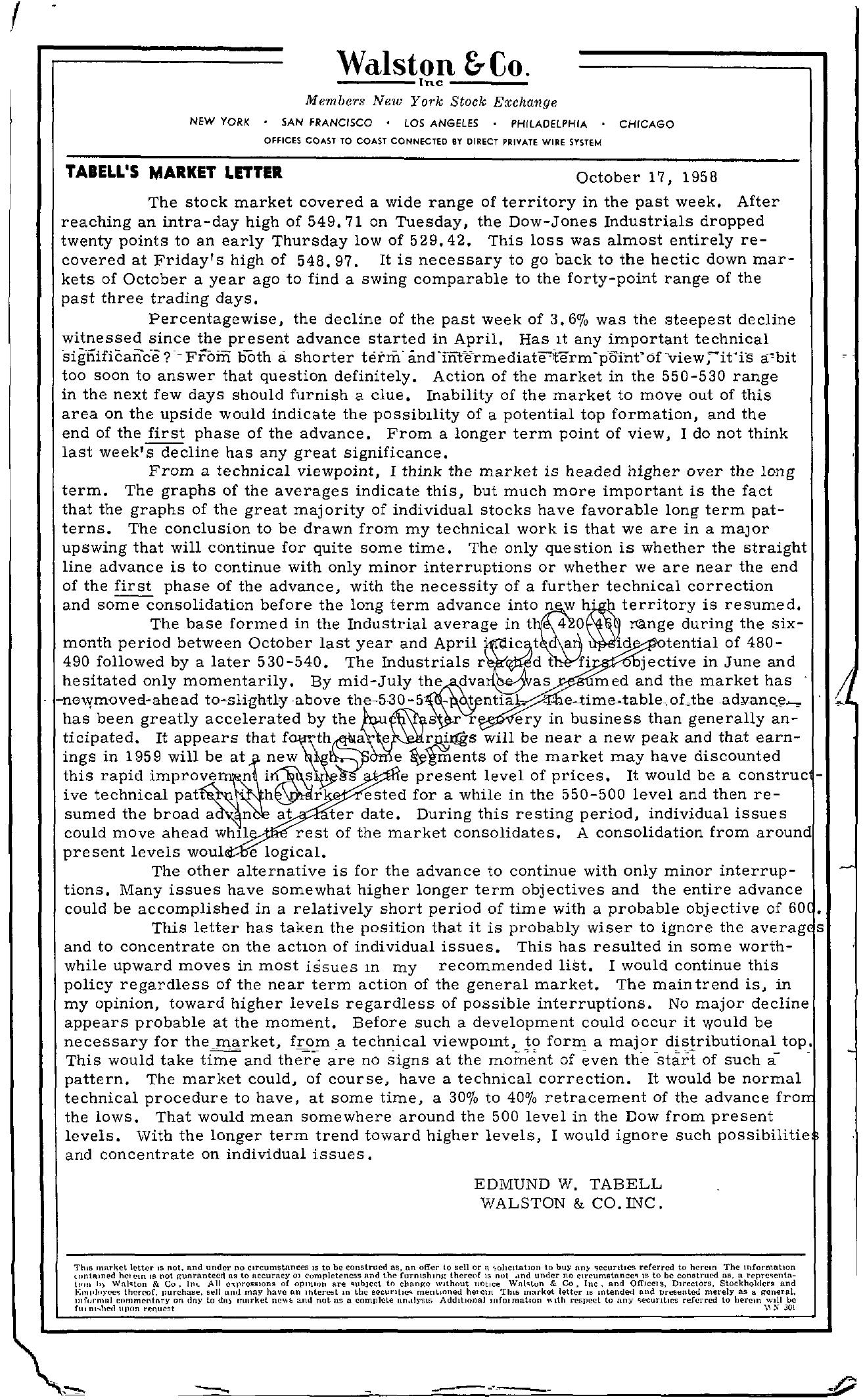 Tabell's Market Letter - October 17, 1958