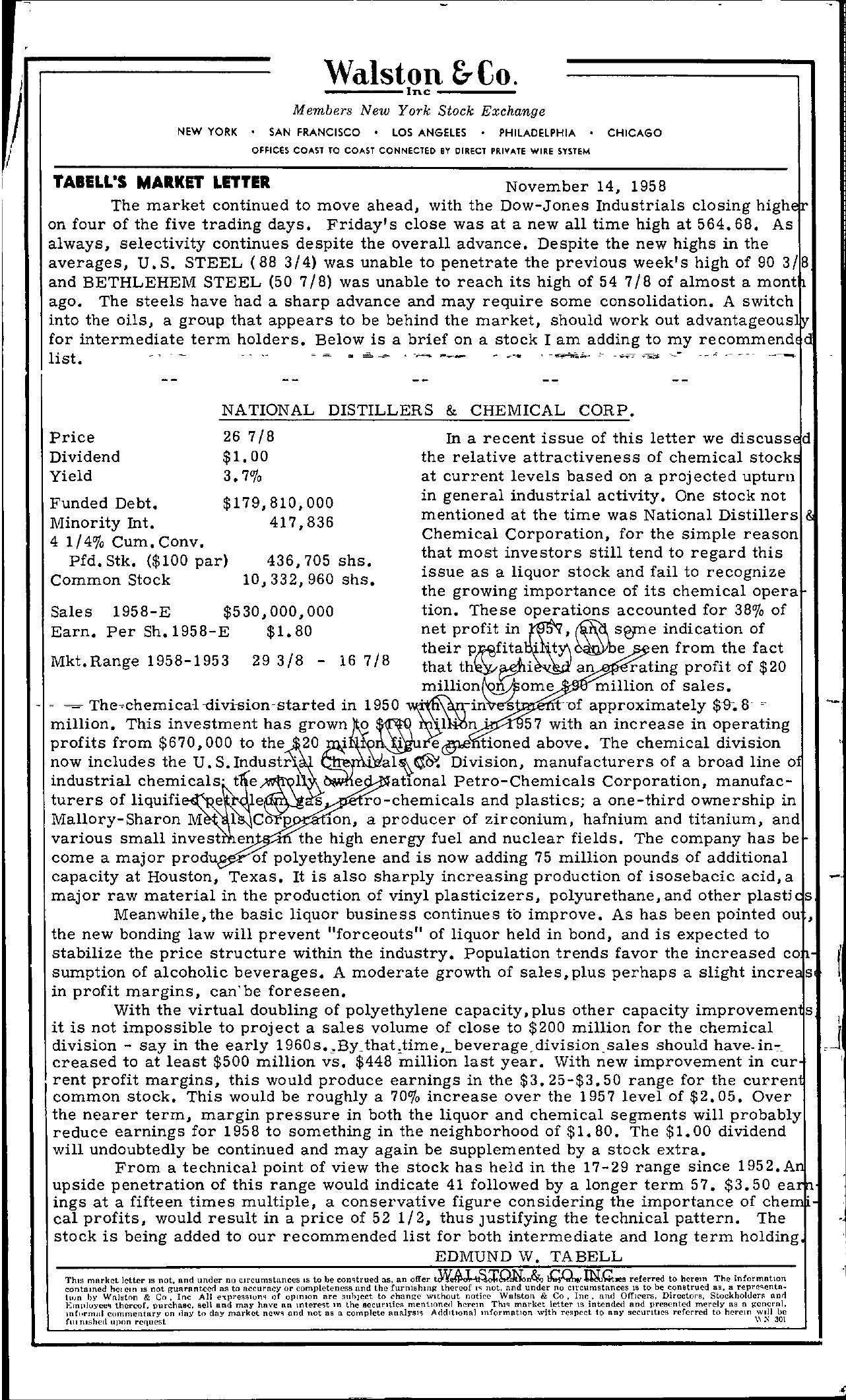 Tabell's Market Letter - November 14, 1958