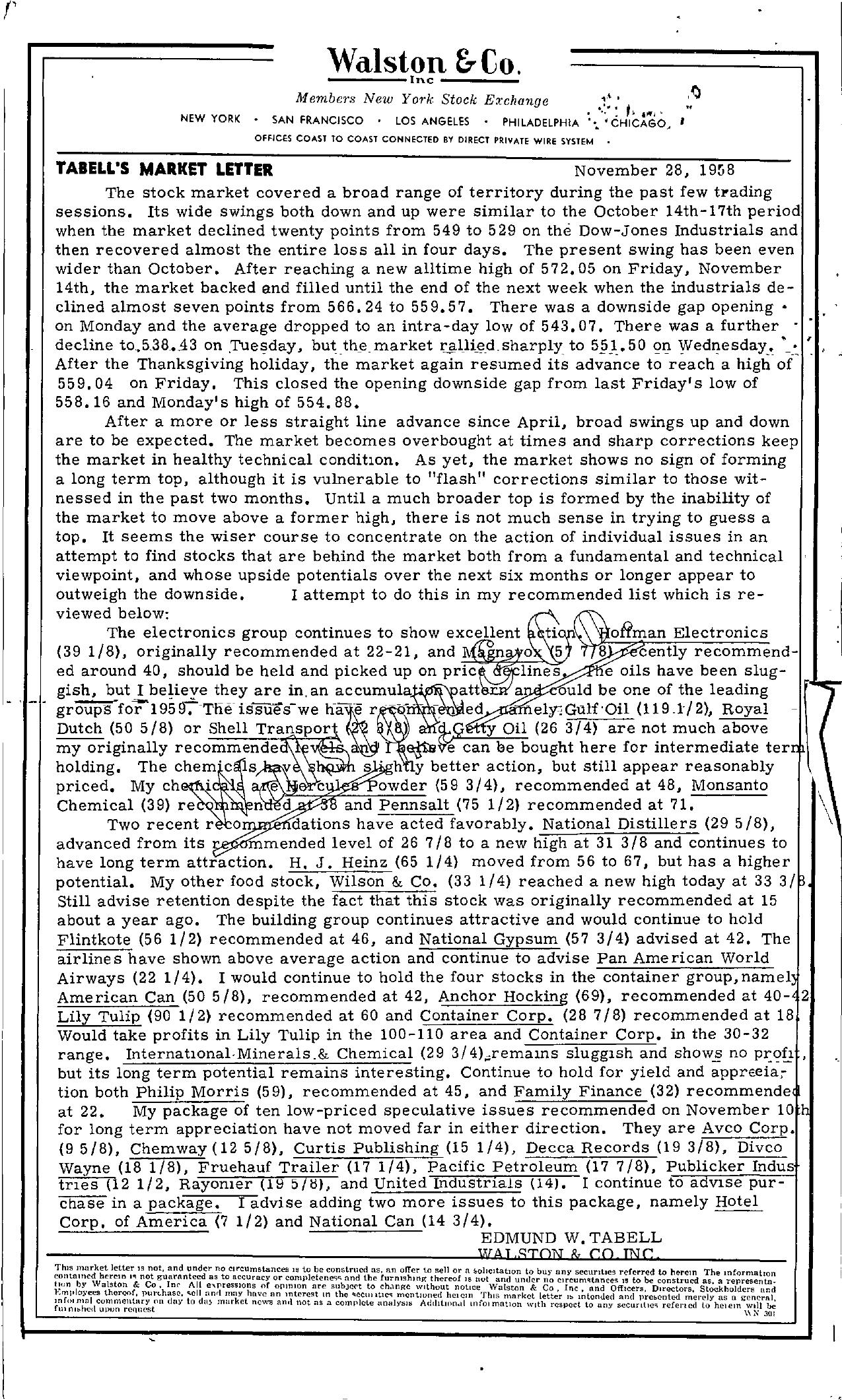 Tabell's Market Letter - November 28, 1958