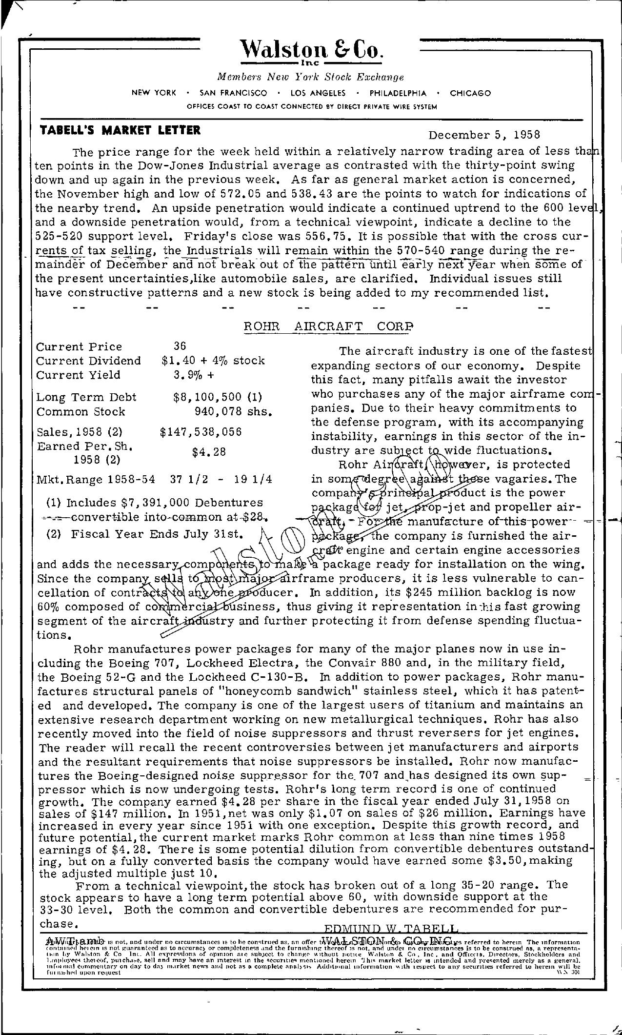Tabell's Market Letter - December 05, 1958