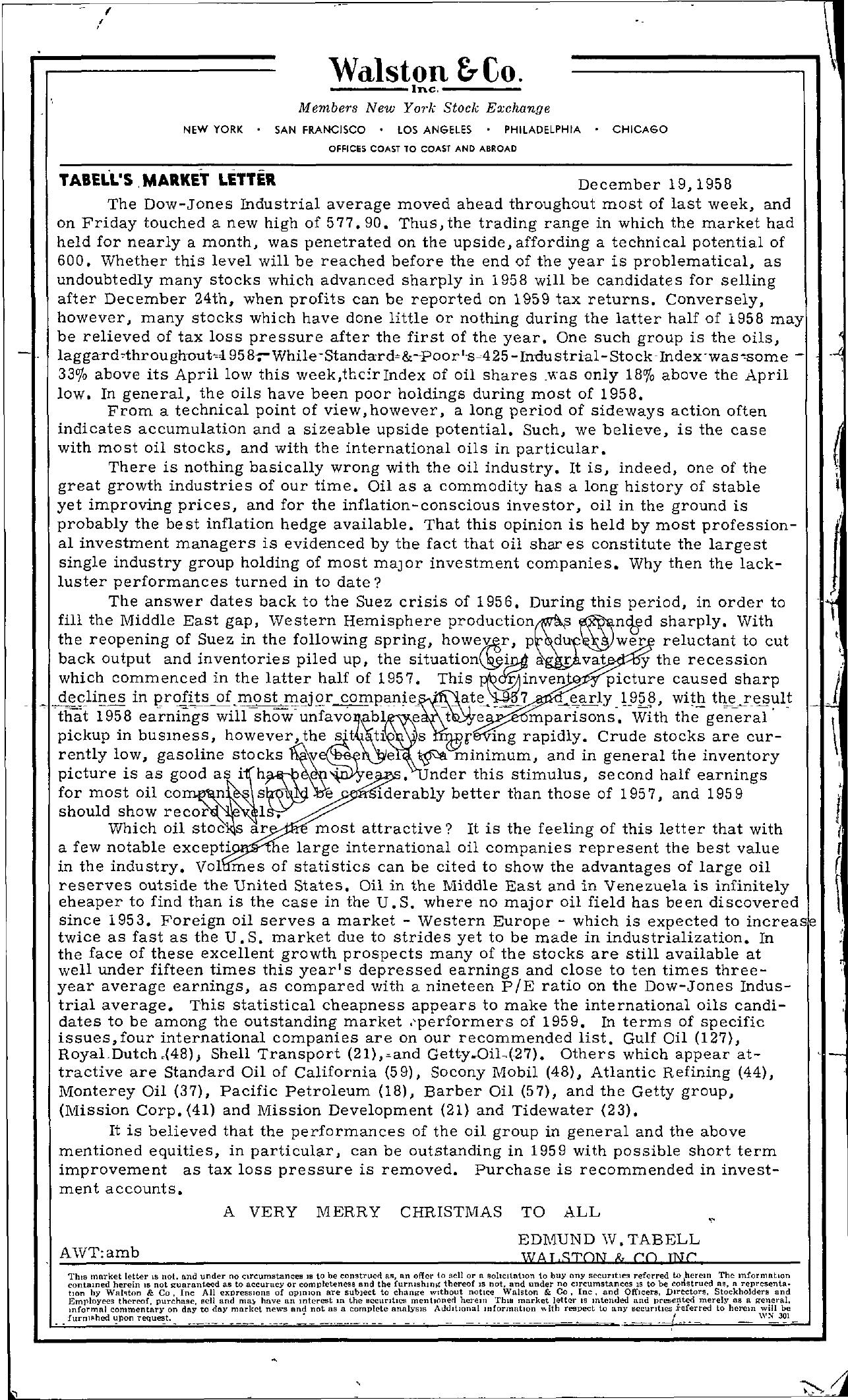 Tabell's Market Letter - December 19, 1958