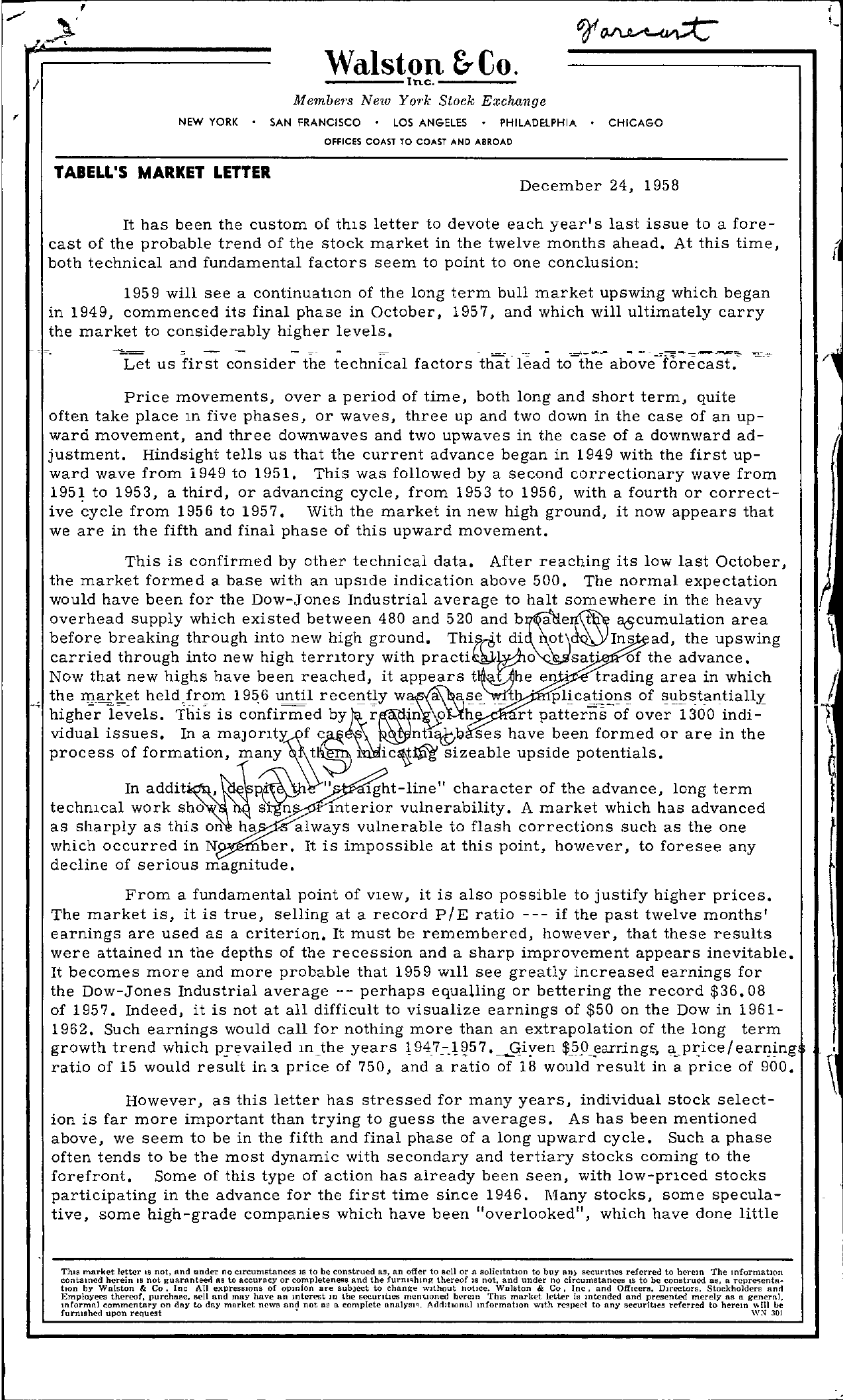 Tabell's Market Letter - December 24, 1958 page 1