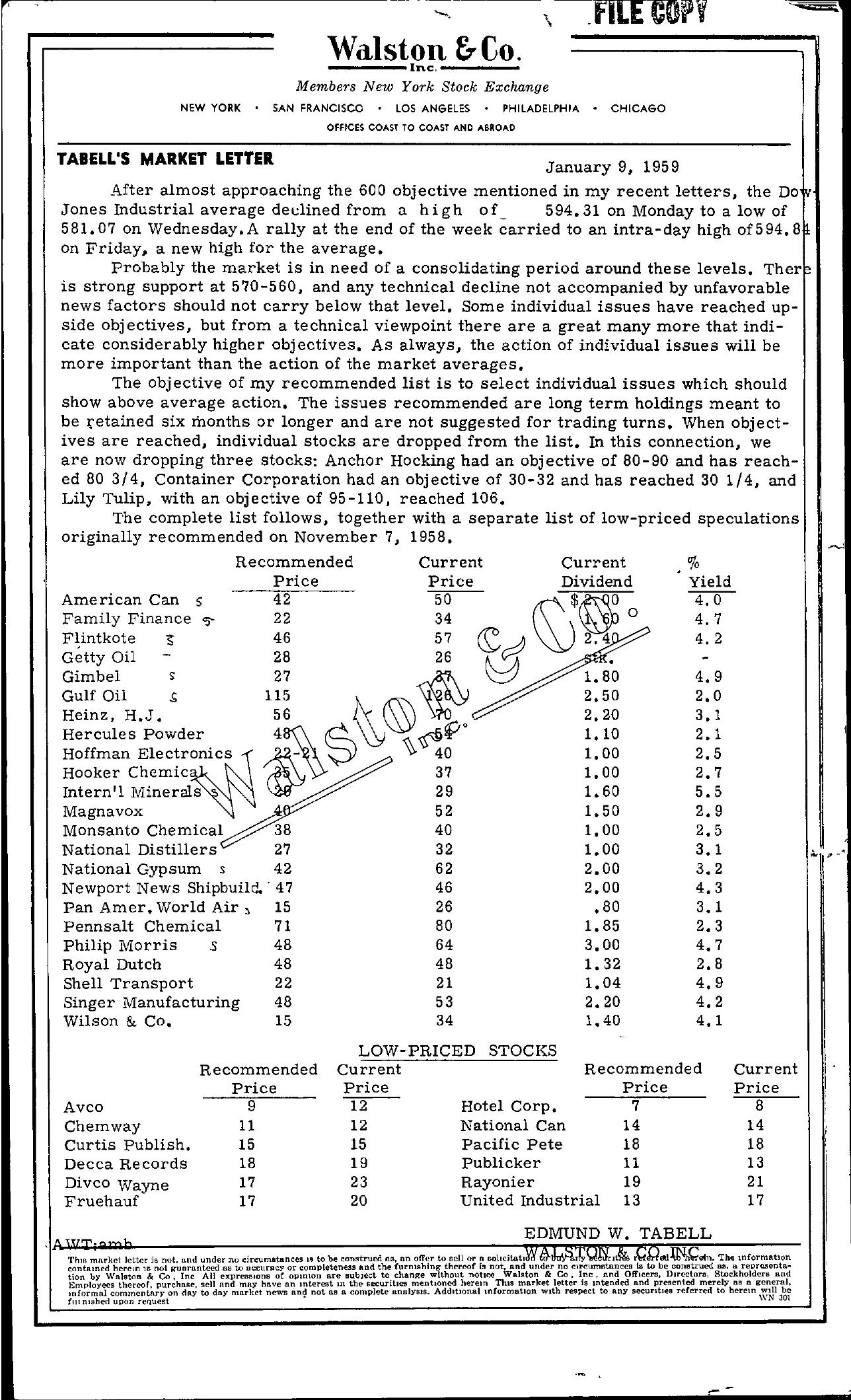 Tabell's Market Letter - January 09, 1959