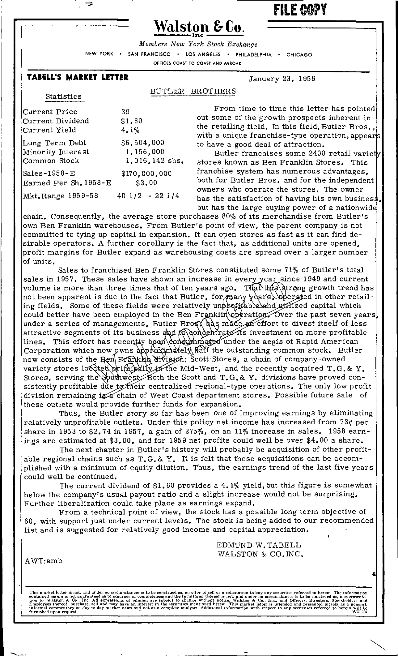 Tabell's Market Letter - January 23, 1959