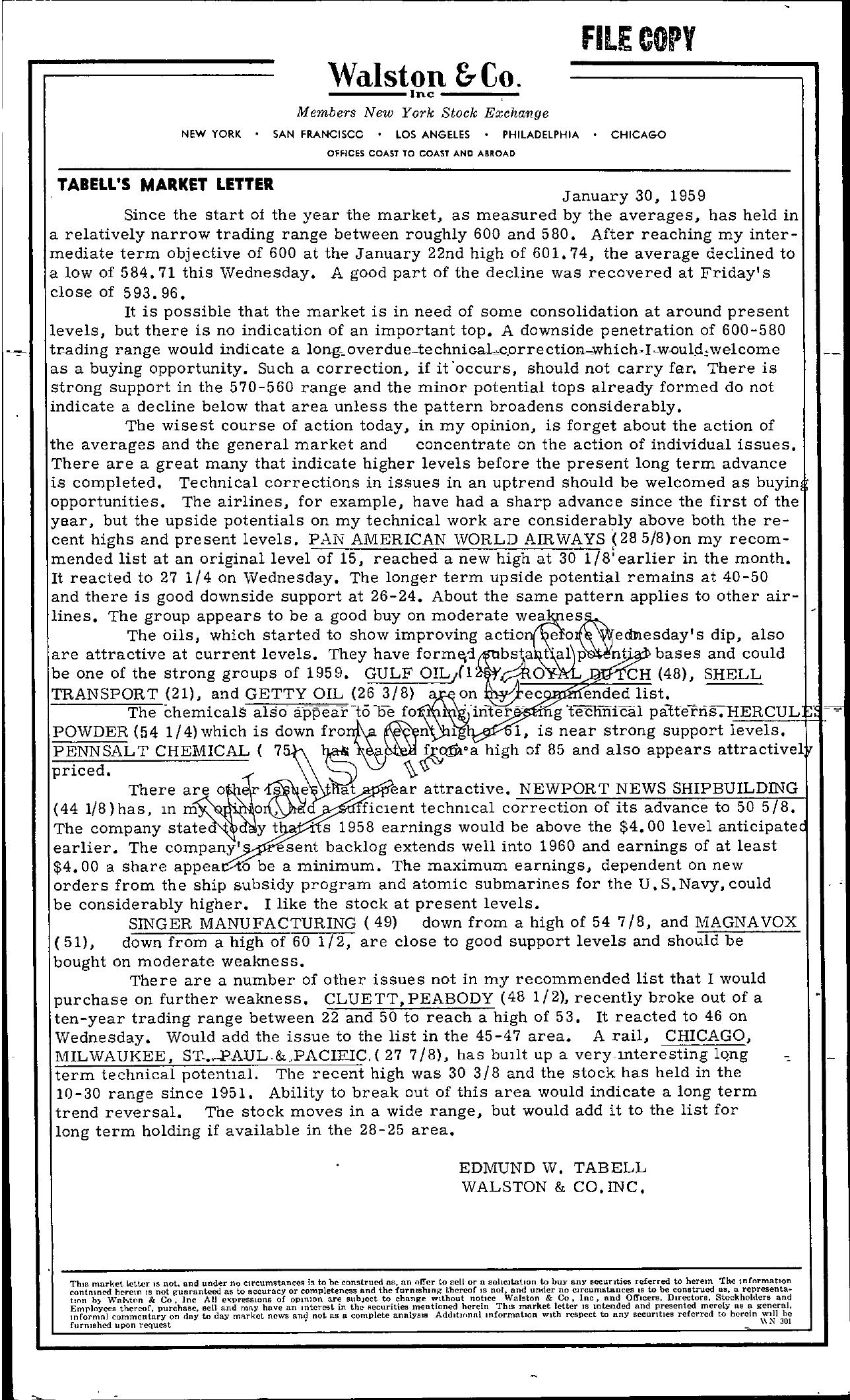 Tabell's Market Letter - January 30, 1959