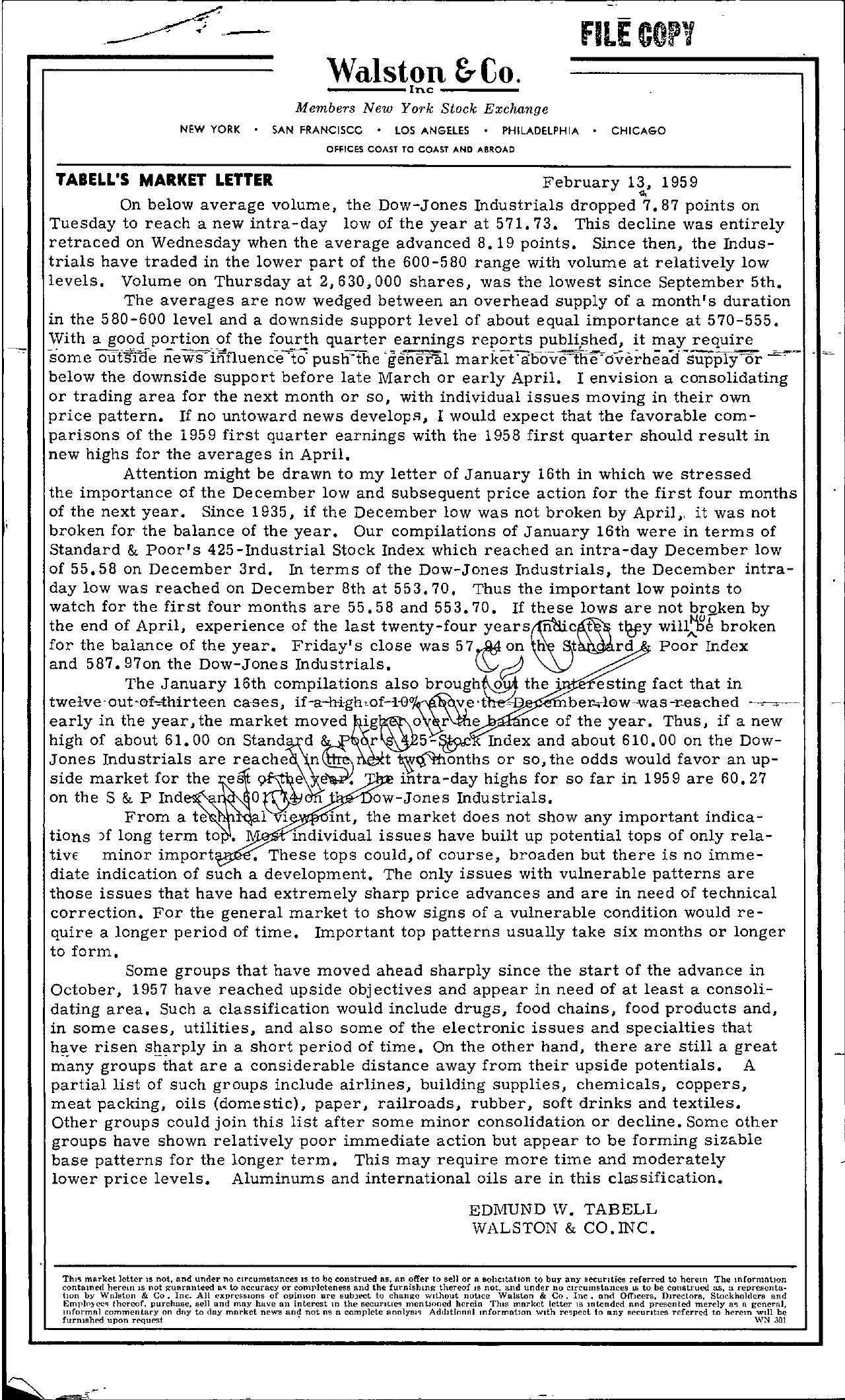 Tabell's Market Letter - February 13, 1959