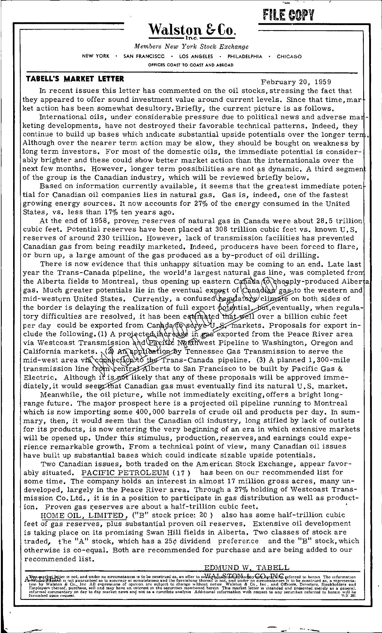 Tabell's Market Letter - February 20, 1959