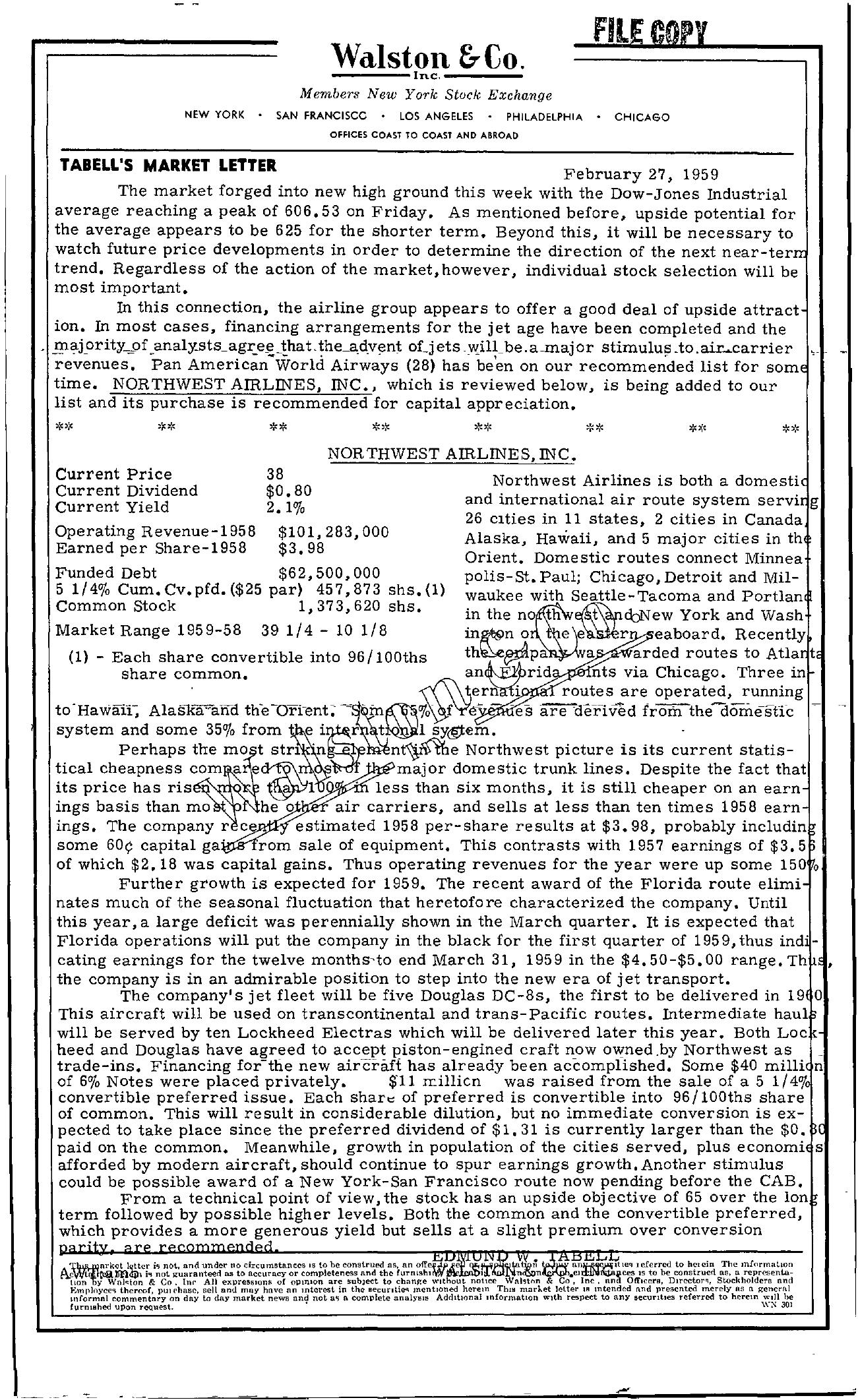 Tabell's Market Letter - February 27, 1959