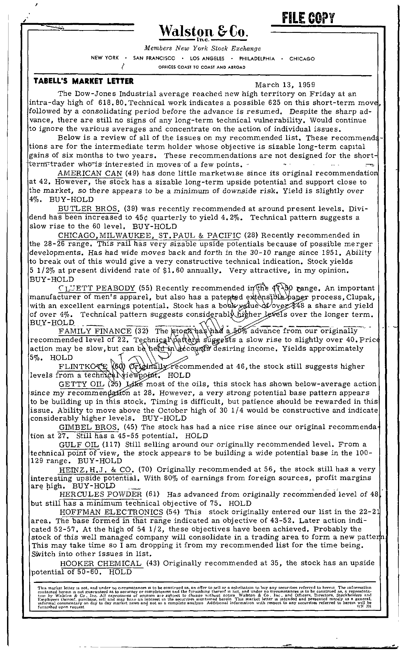 Tabell's Market Letter - March 13, 1959 page 1