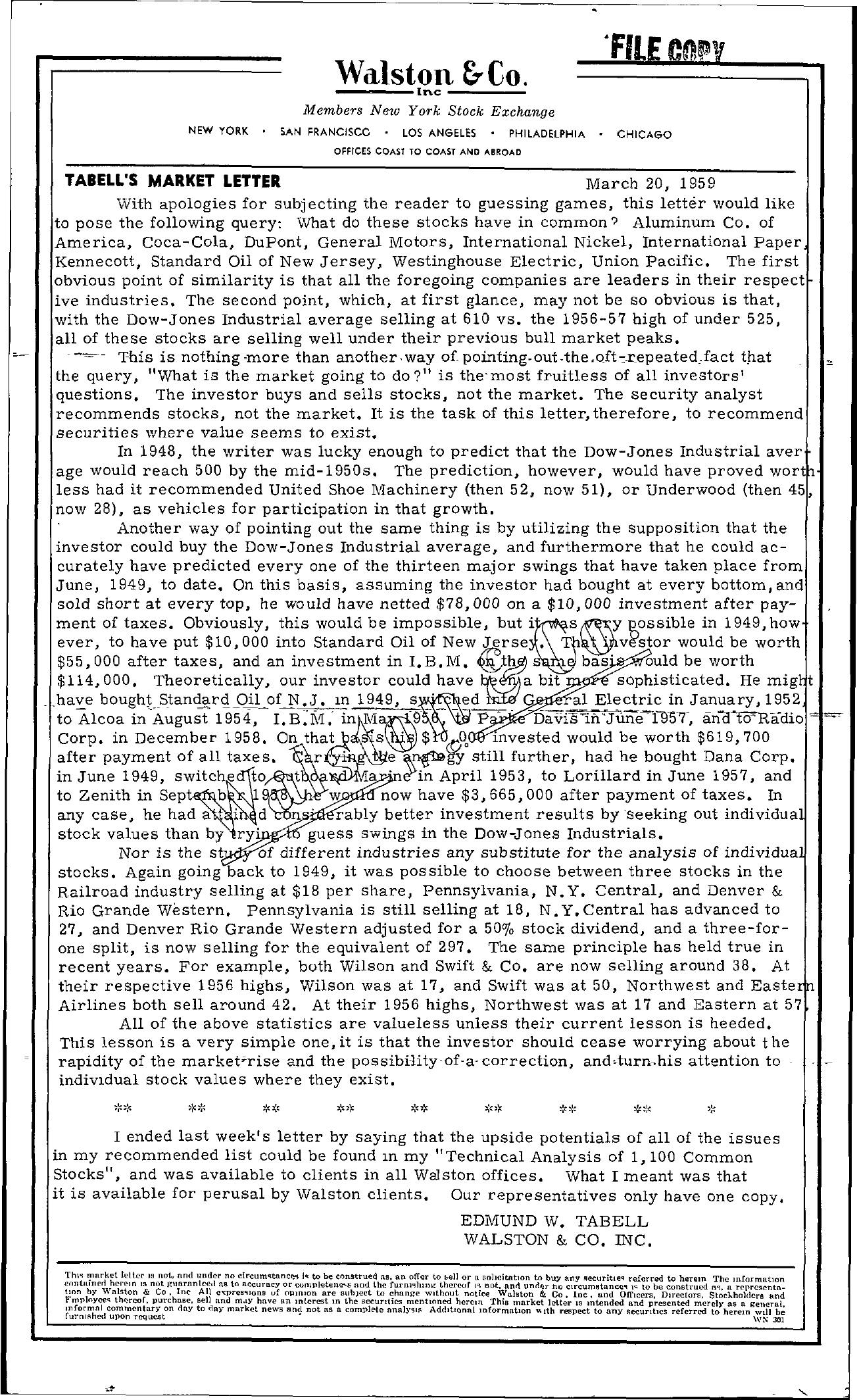 Tabell's Market Letter - March 20, 1959