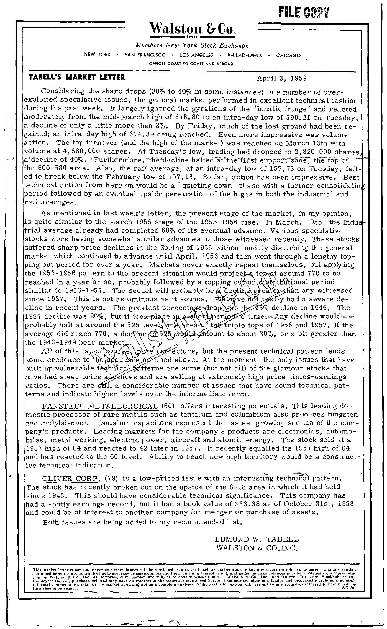 Tabell's Market Letter - April 03, 1959